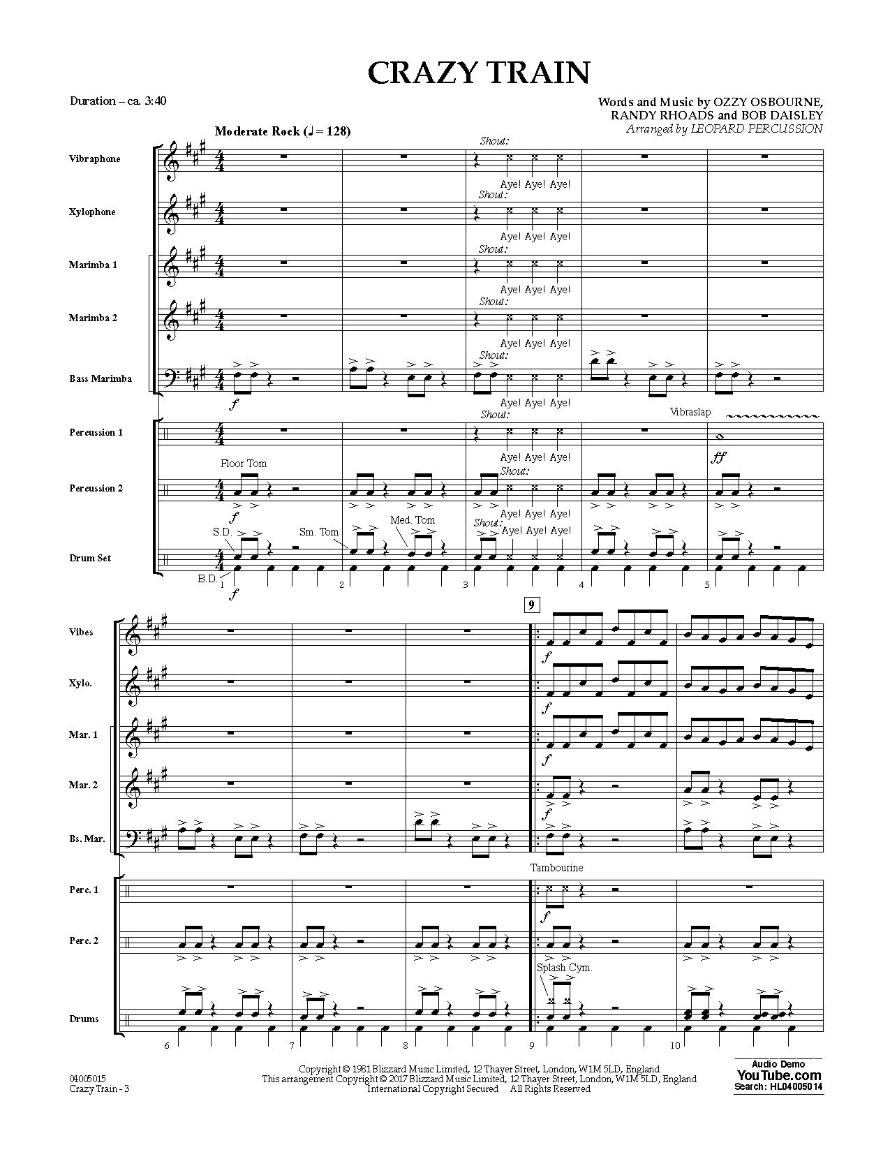 Crazy Train (COMPLETE) sheet music for concert band by Diane Downs, Black Sabbath, Ozzy Osbourne and Randy Rhoads. Score Image Preview.