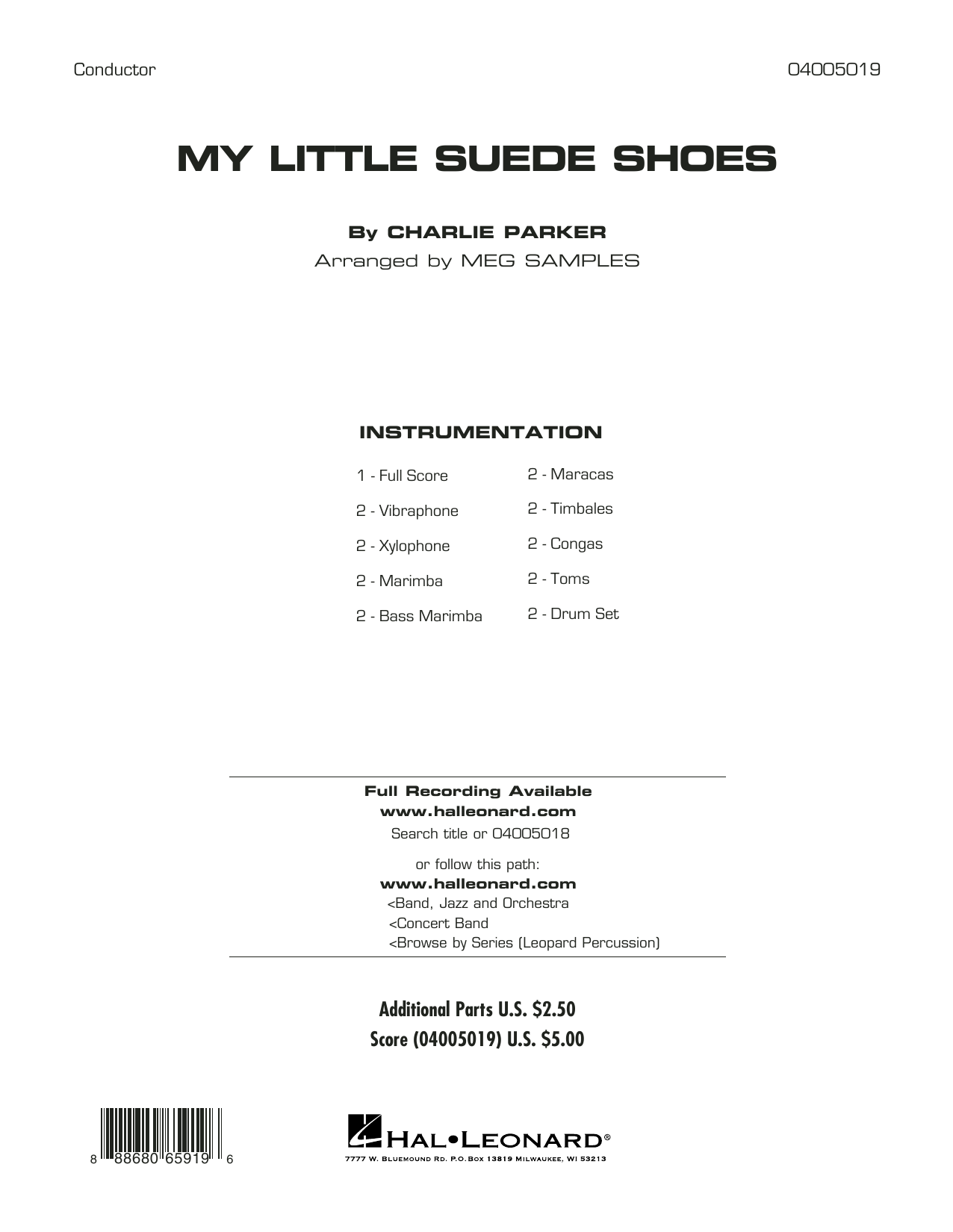 My Little Suede Shoes (COMPLETE) sheet music for concert band by Charlie Parker. Score Image Preview.