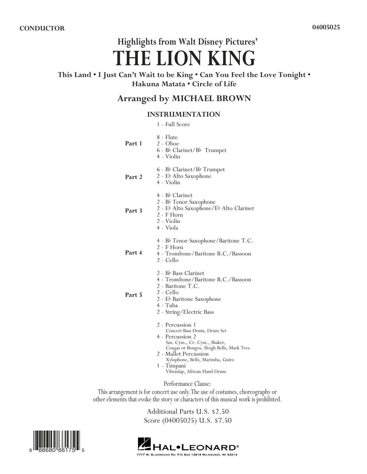 Highlights from The Lion King (COMPLETE) sheet music for concert band by Michael Brown. Score Image Preview.