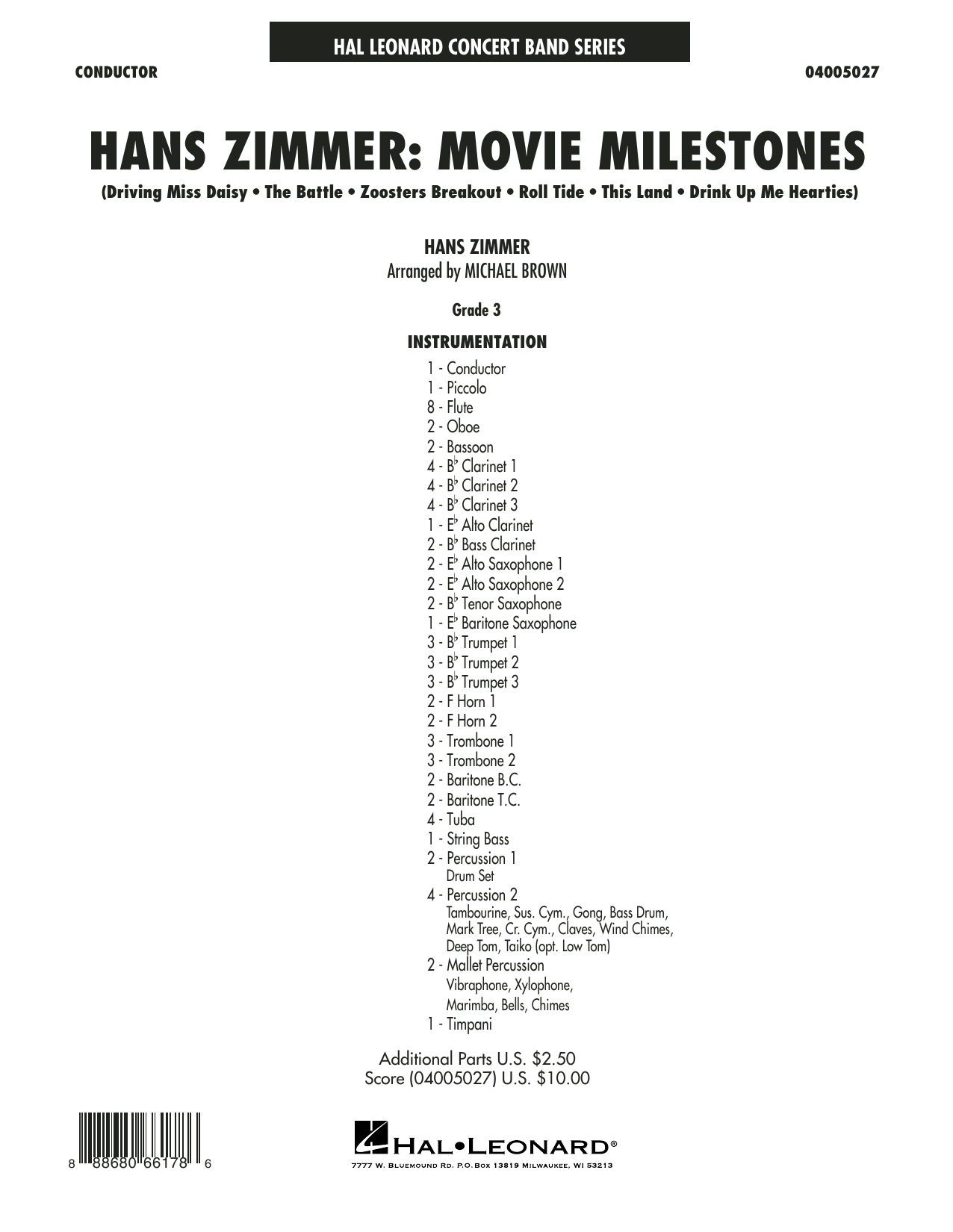 Hans Zimmer: Movie Milestones (COMPLETE) sheet music for concert band by Michael Brown and Hans Zimmer. Score Image Preview.