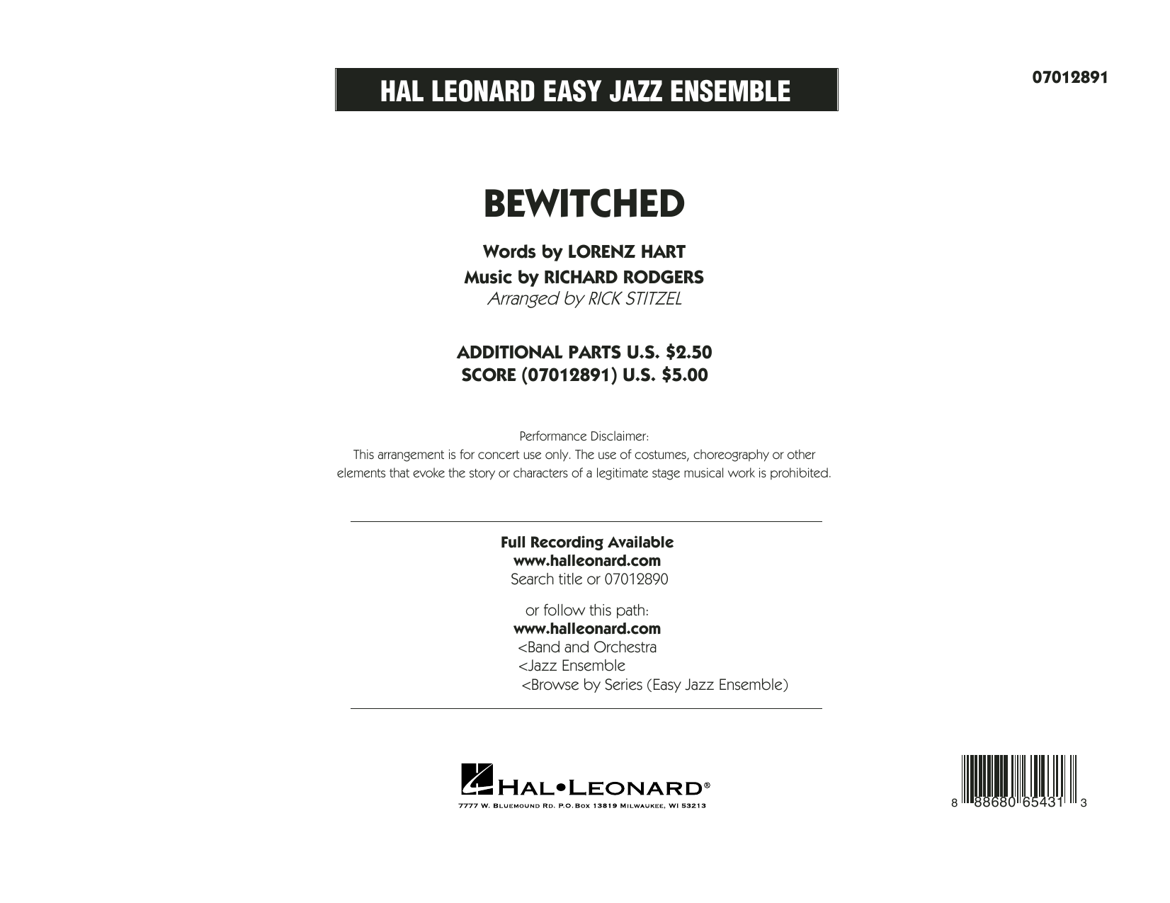 Bewitched - Conductor Score (Full Score) Sheet Music