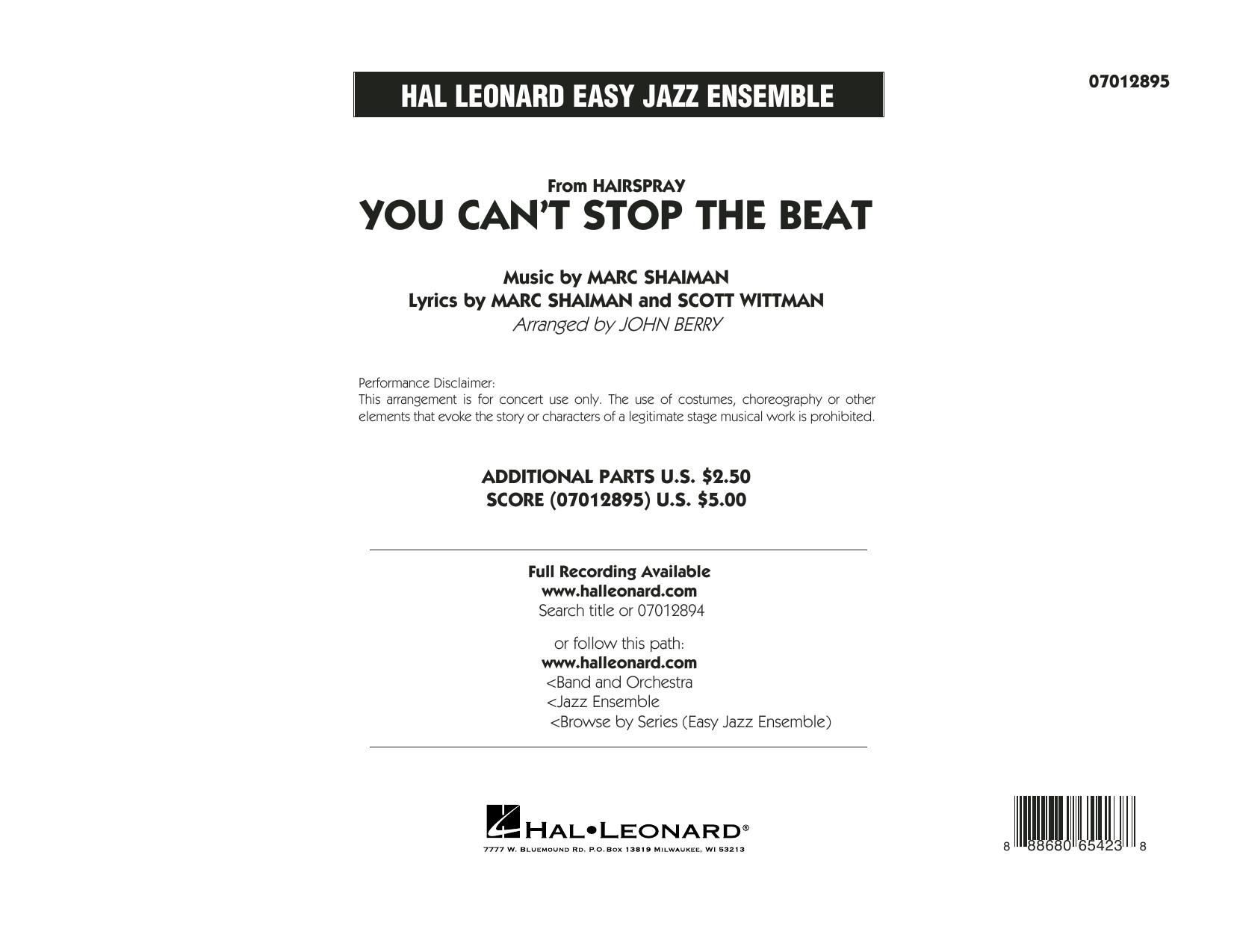 You Can't Stop the Beat (from Hairspray) - Conductor Score (Full Score) Sheet Music