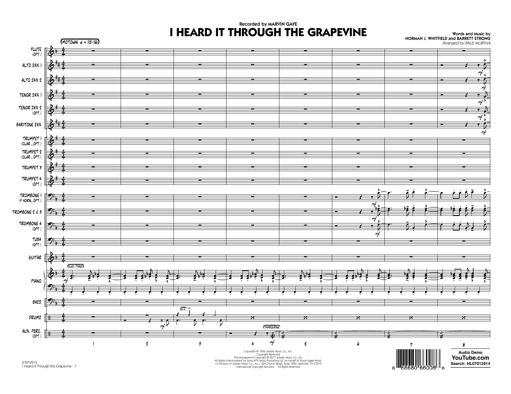 I Heard It Through the Grapevine (COMPLETE) sheet music for jazz band by Norman Whitfield, Barrett Strong, Creedence Clearwater Revival, Marvin Gaye, Michael McDonald and Paul Murtha. Score Image Preview.