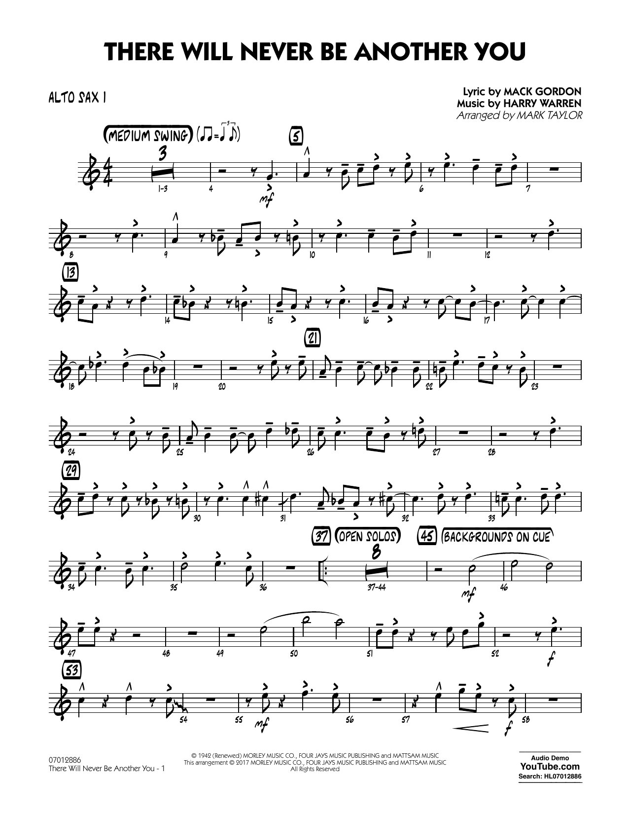 There Will Never Be Another You - Alto Sax 1 Sheet Music