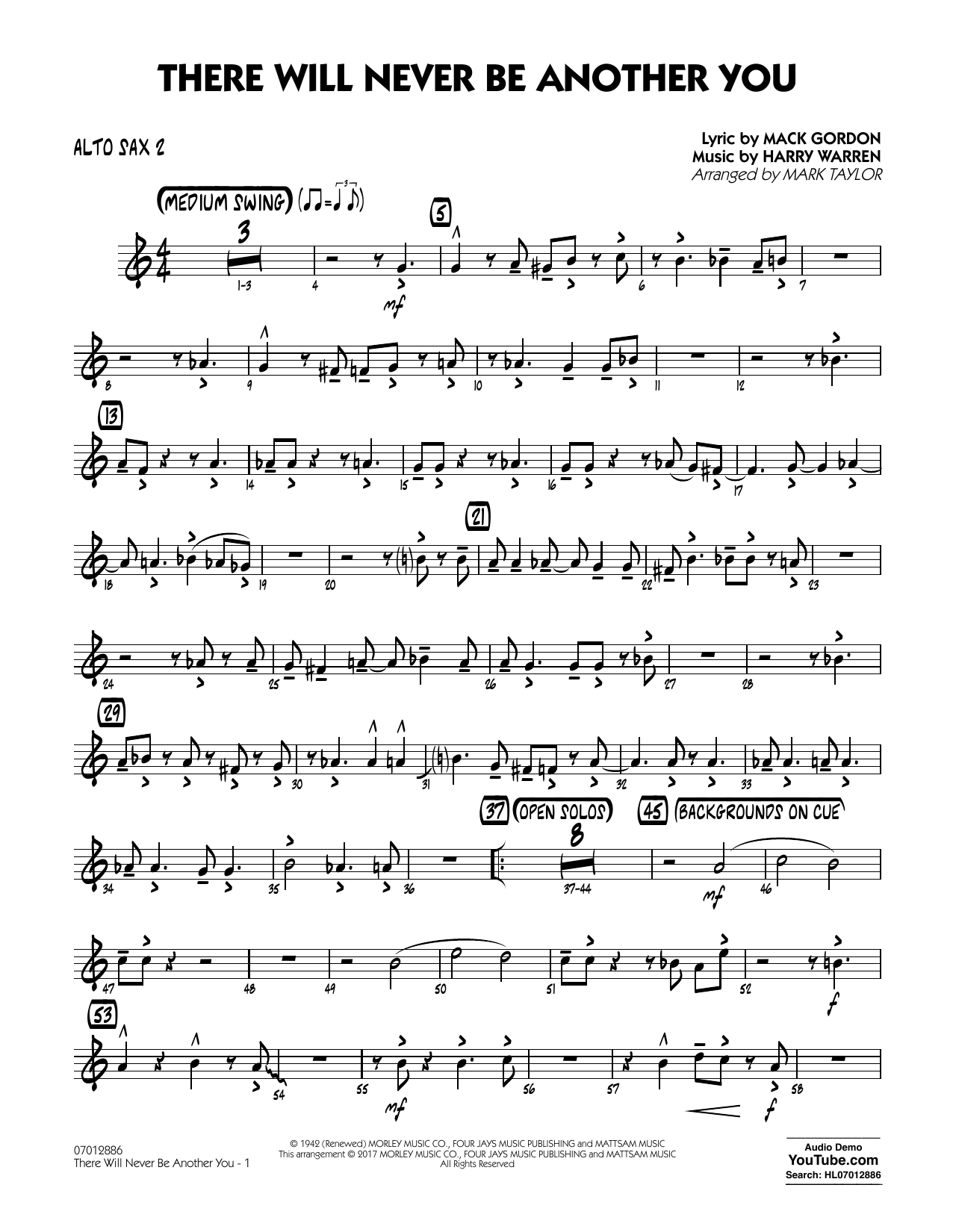 There Will Never Be Another You - Alto Sax 2 Sheet Music