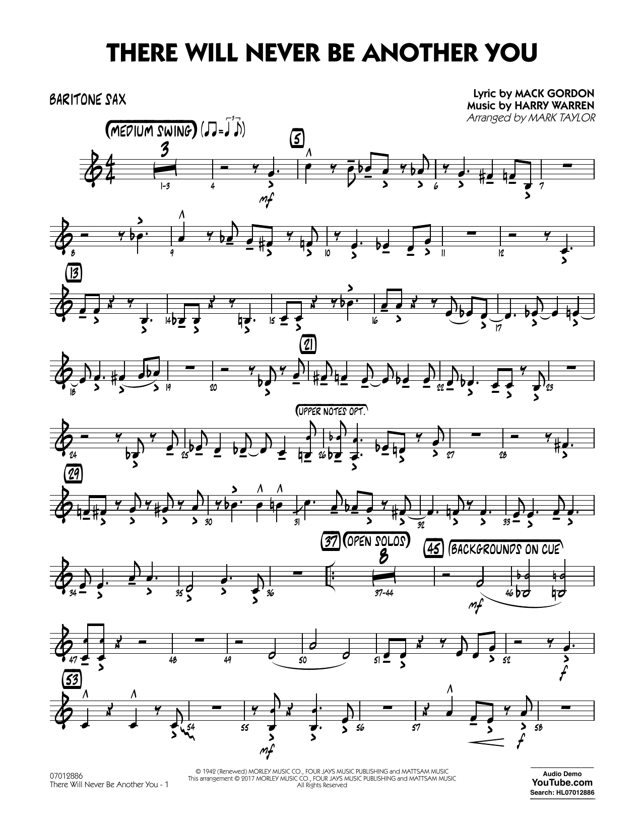 There Will Never Be Another You - Baritone Sax Sheet Music