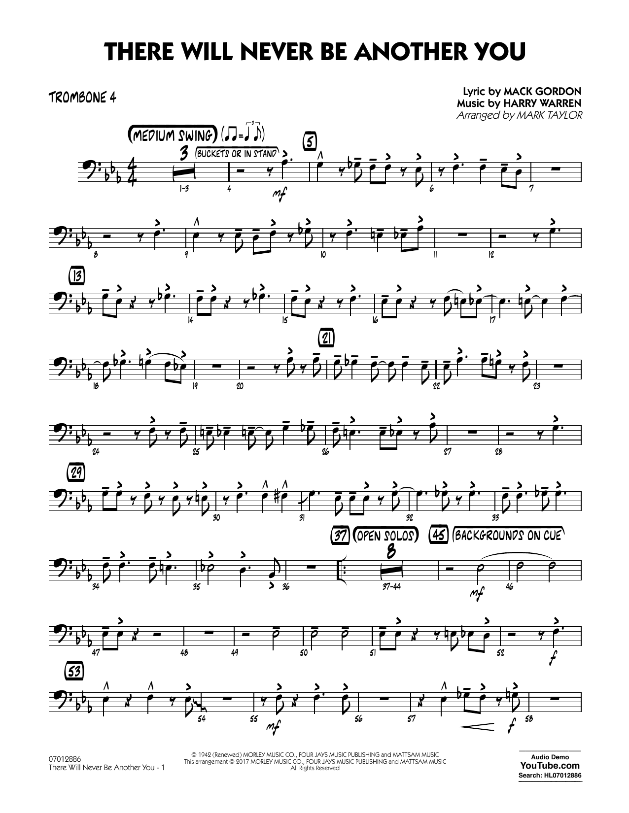 There Will Never Be Another You - Trombone 4 Sheet Music