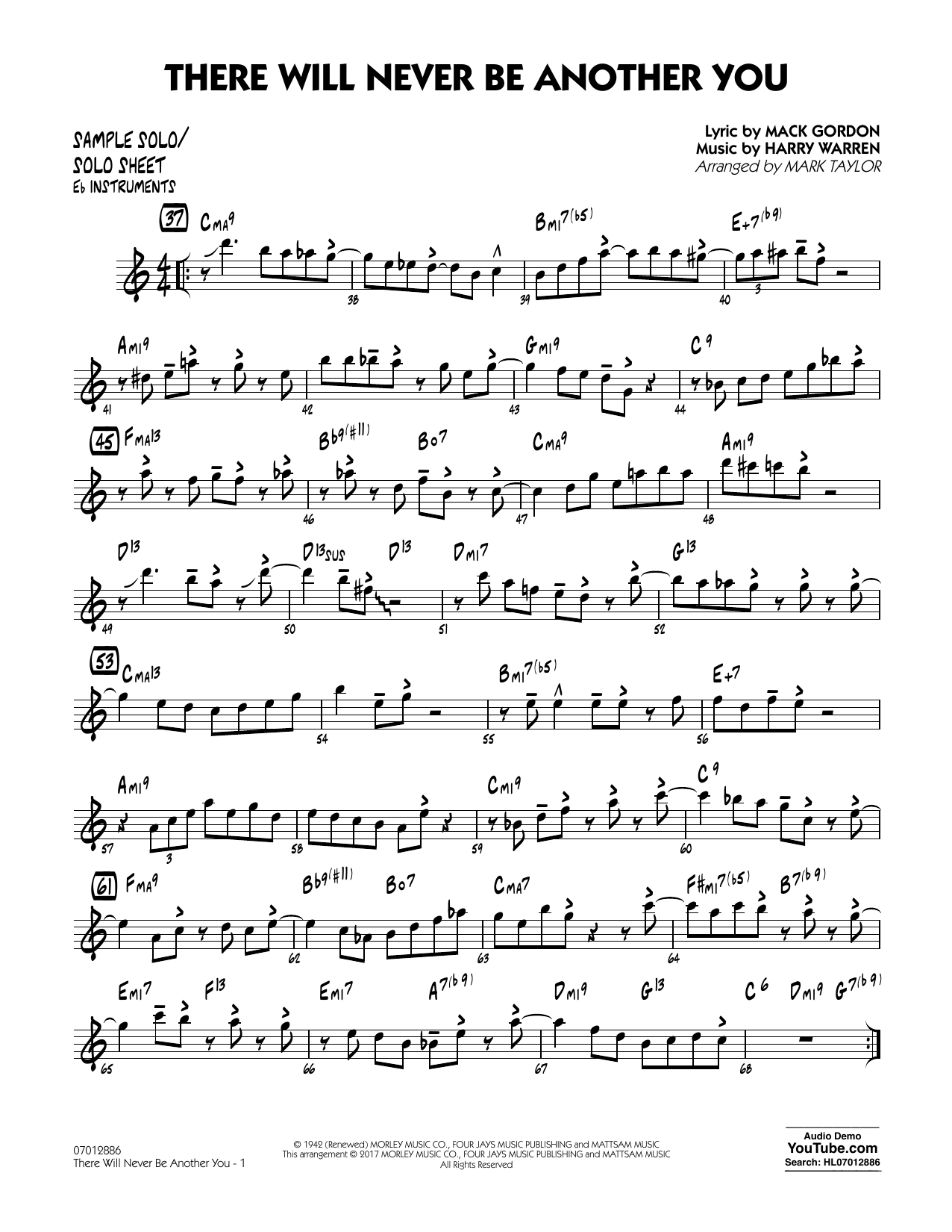 There Will Never Be Another You - Sample Solo/Solo Sheet Eb Inst Sheet Music