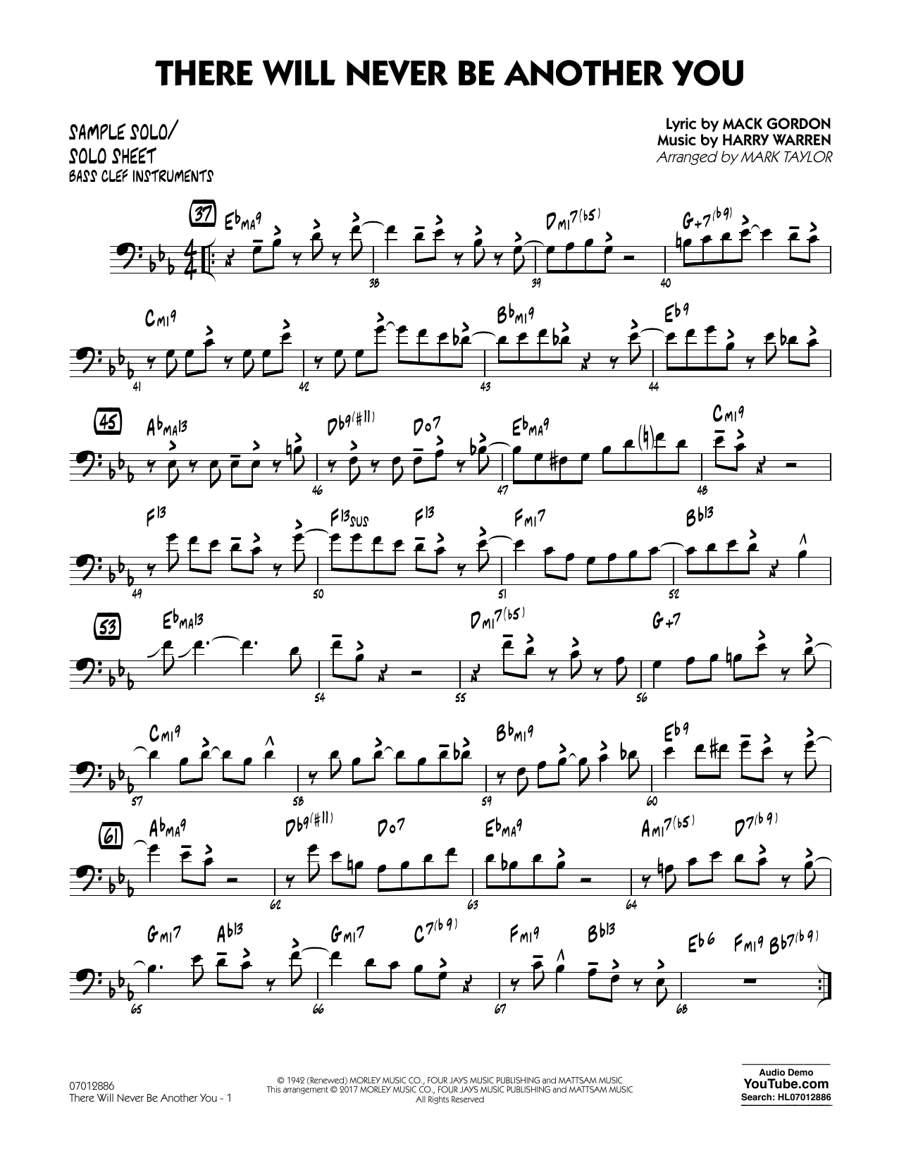 There Will Never Be Another You - Sample Solo/Solo Sheet Bass Cl Sheet Music