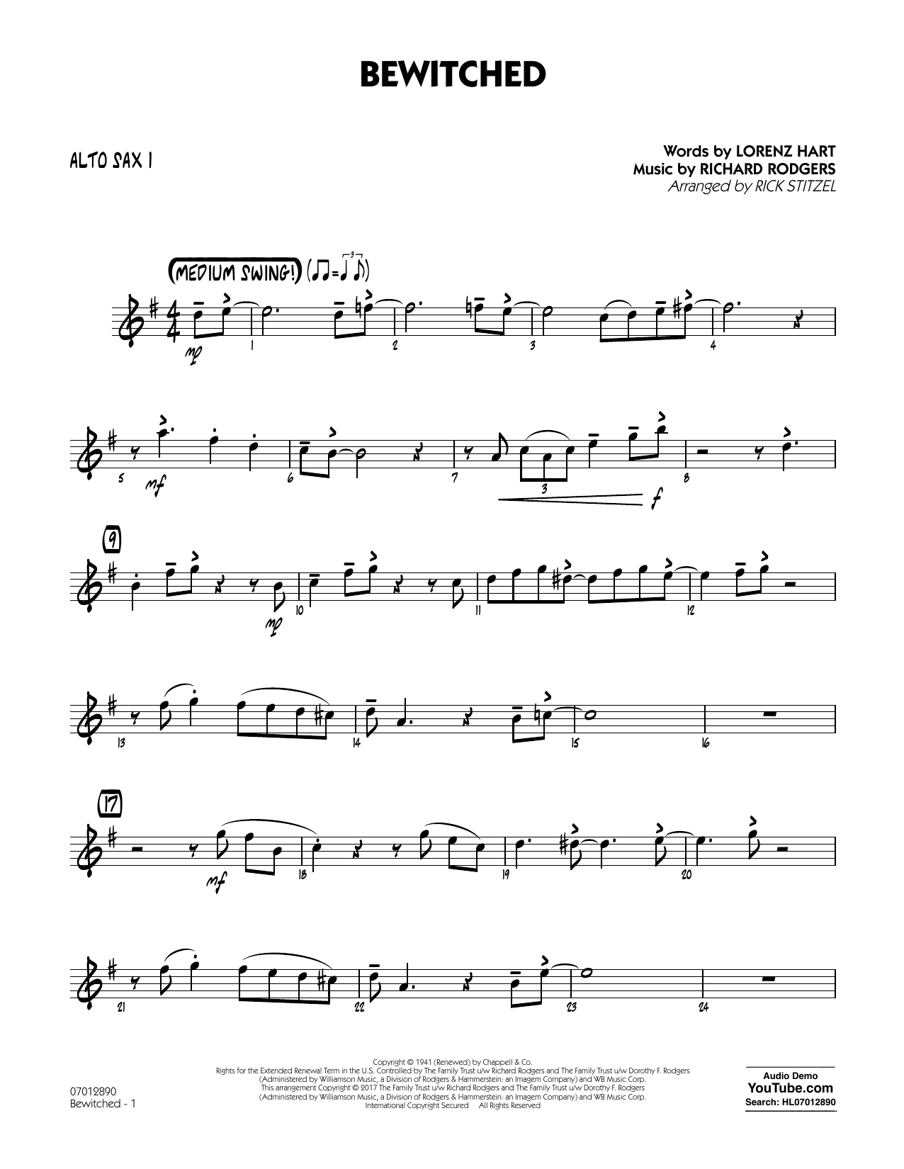 Bewitched - Alto Sax 1 Sheet Music