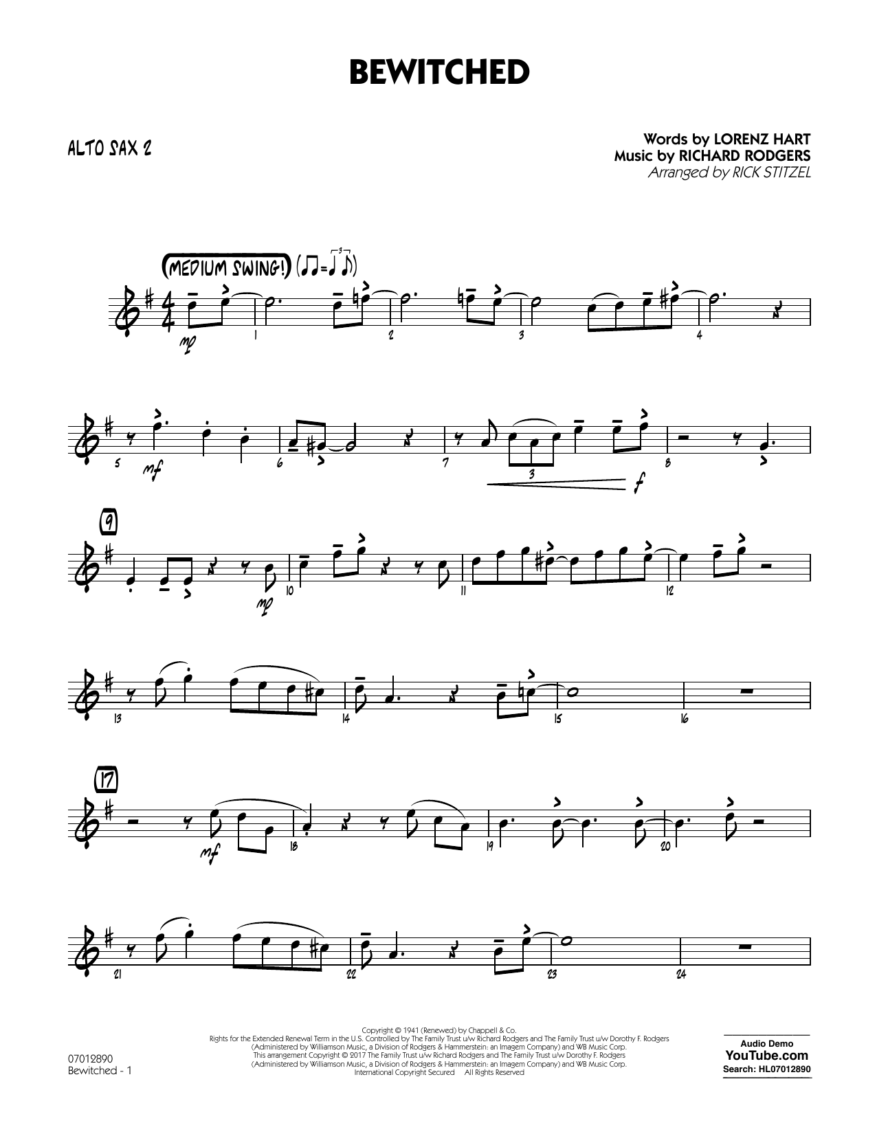 Bewitched - Alto Sax 2 Sheet Music