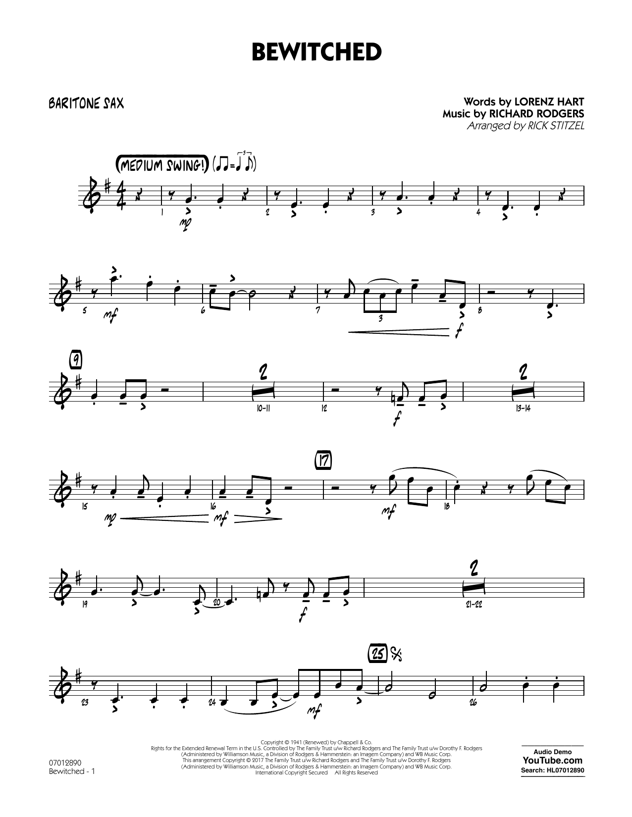 Bewitched - Baritone Sax Sheet Music