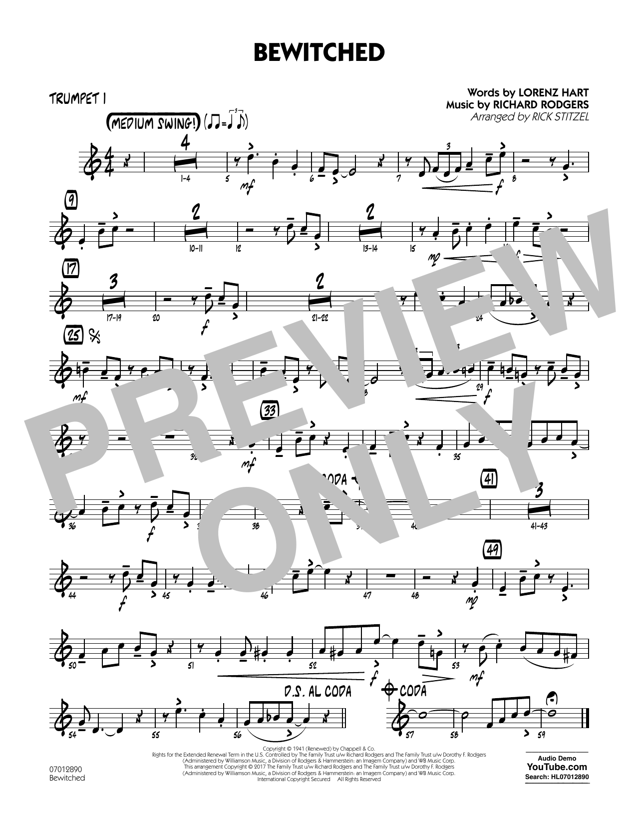 Bewitched - Trumpet 1 Sheet Music