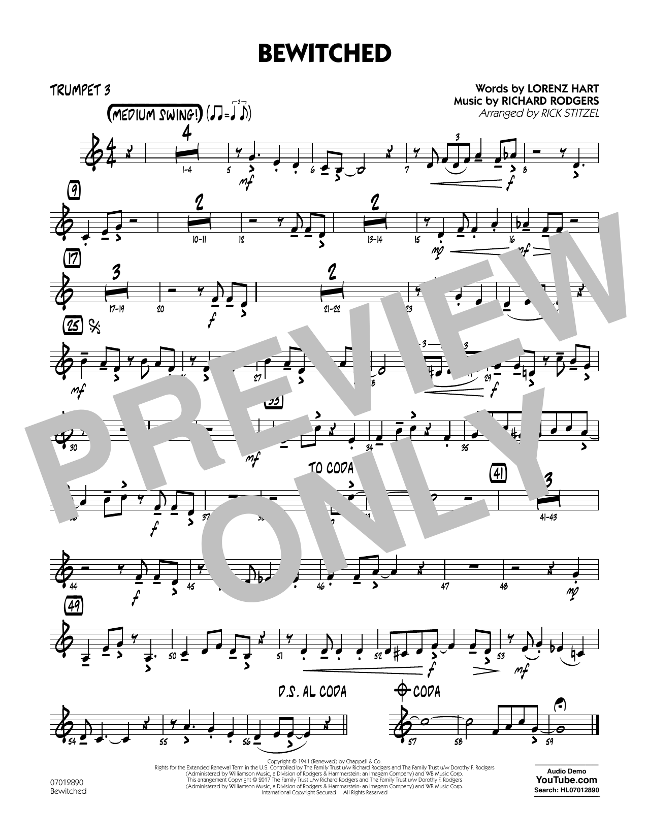 Bewitched - Trumpet 3 Sheet Music