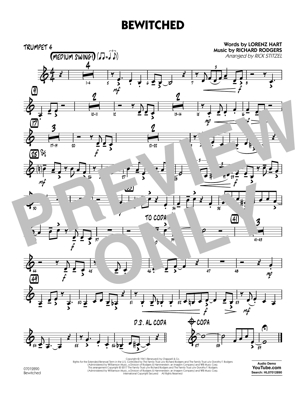 Bewitched - Trumpet 4 Sheet Music