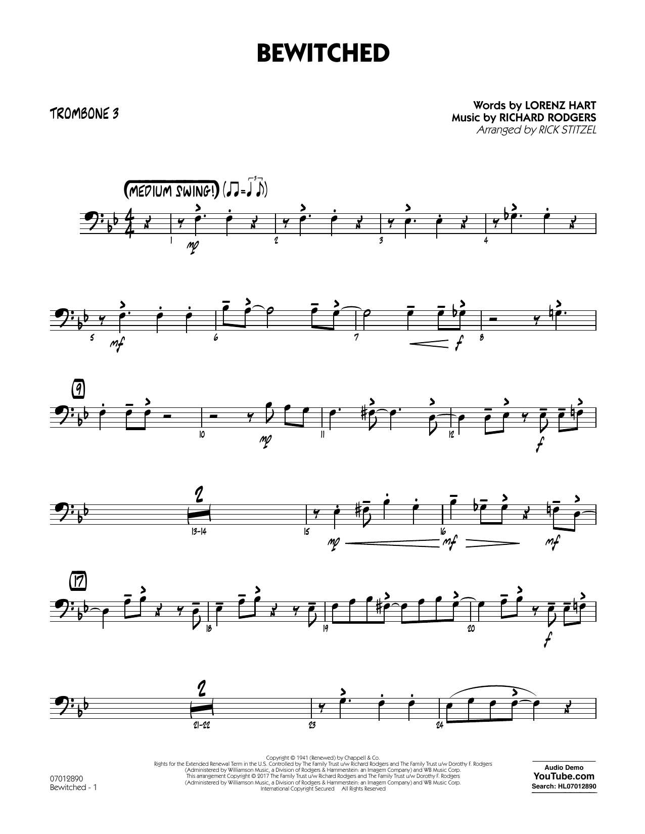 Bewitched - Trombone 3 Sheet Music