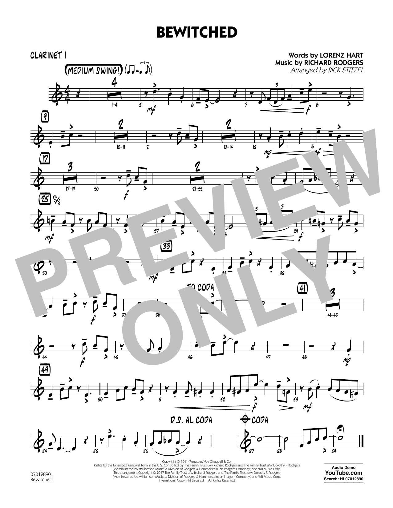 Bewitched - Clarinet 1 Sheet Music