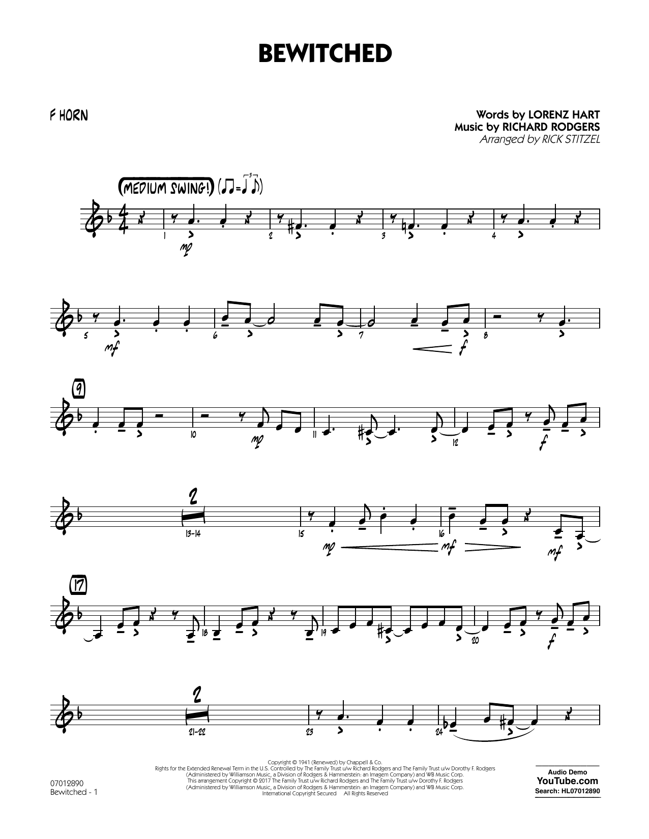 Bewitched - F Horn Sheet Music