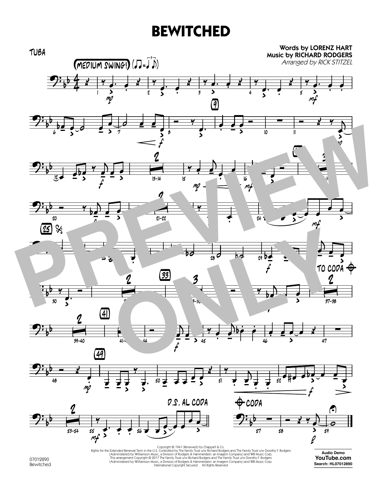 Bewitched - Tuba Sheet Music