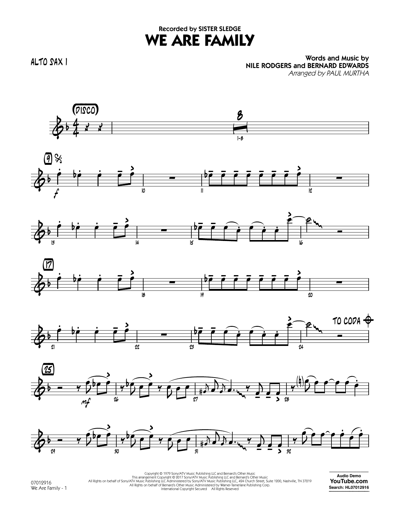 We Are Family - Alto Sax 1 Sheet Music