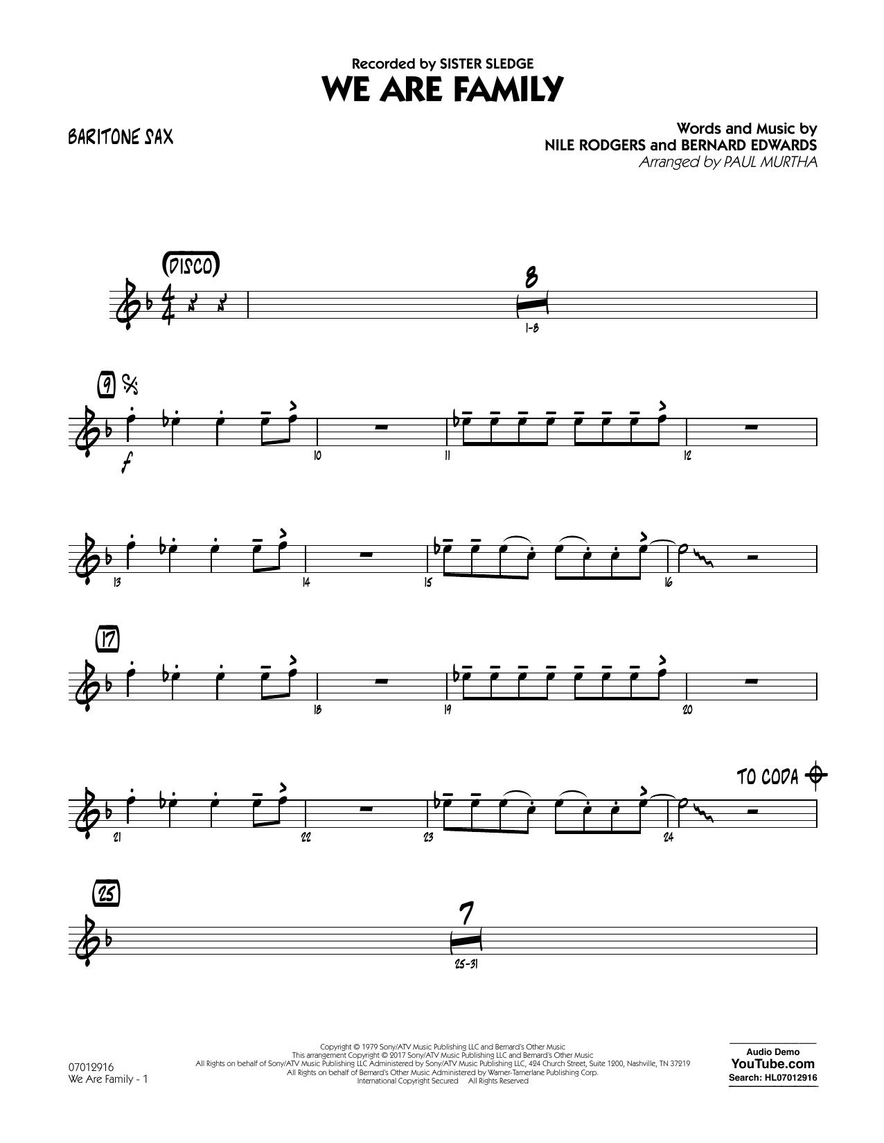 We Are Family - Baritone Sax Sheet Music