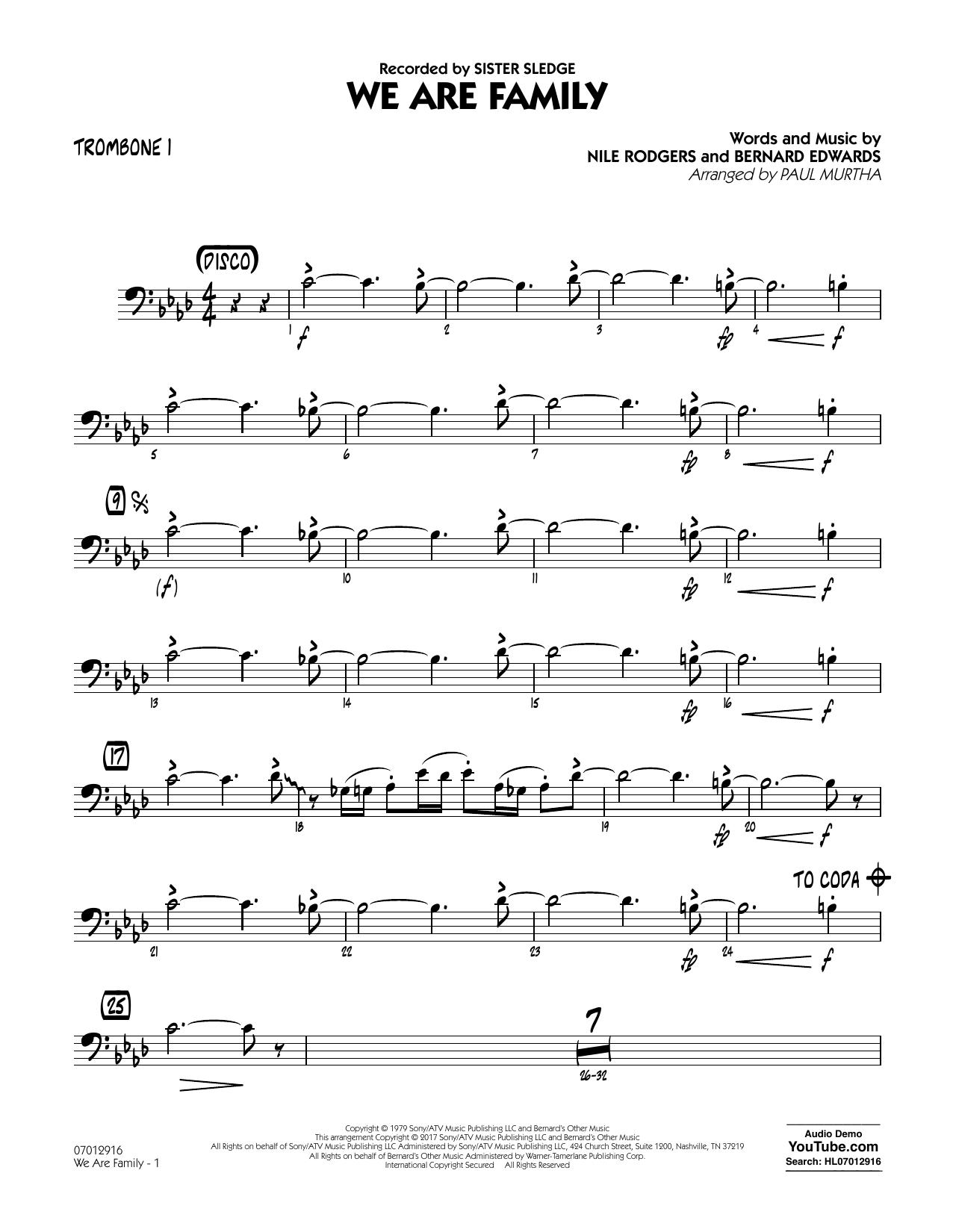 We Are Family - Trombone 1 (Jazz Ensemble)