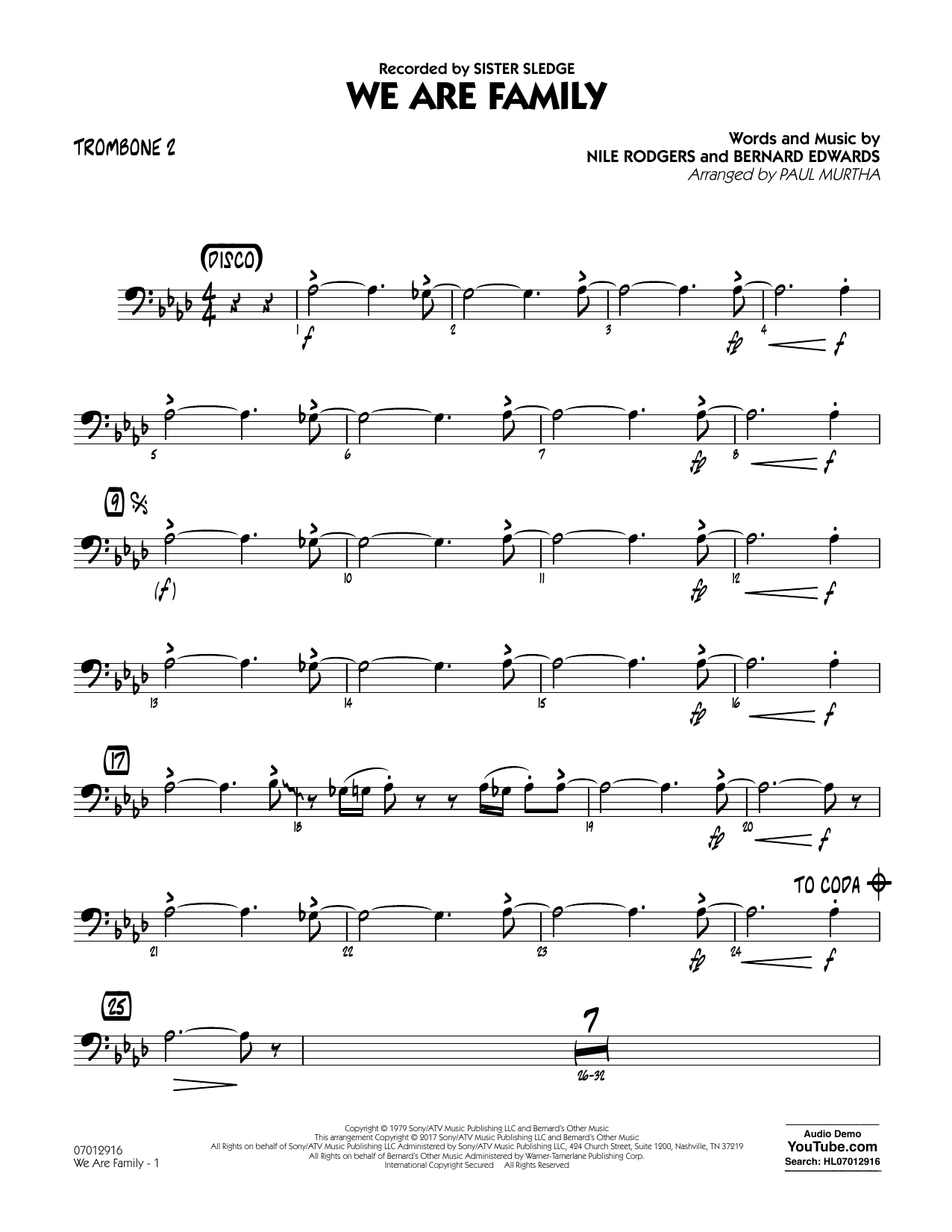 We Are Family - Trombone 2 Sheet Music