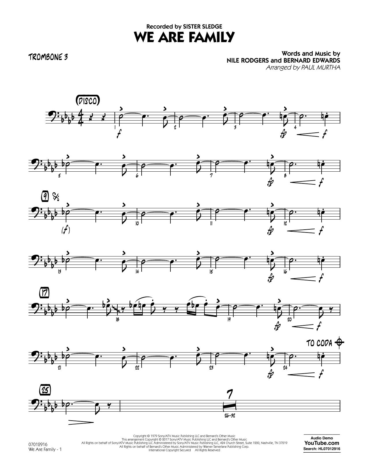 We Are Family - Trombone 3 Sheet Music