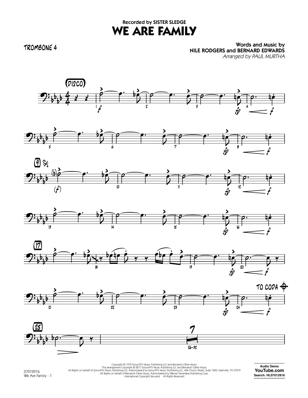 We Are Family - Trombone 4 Sheet Music