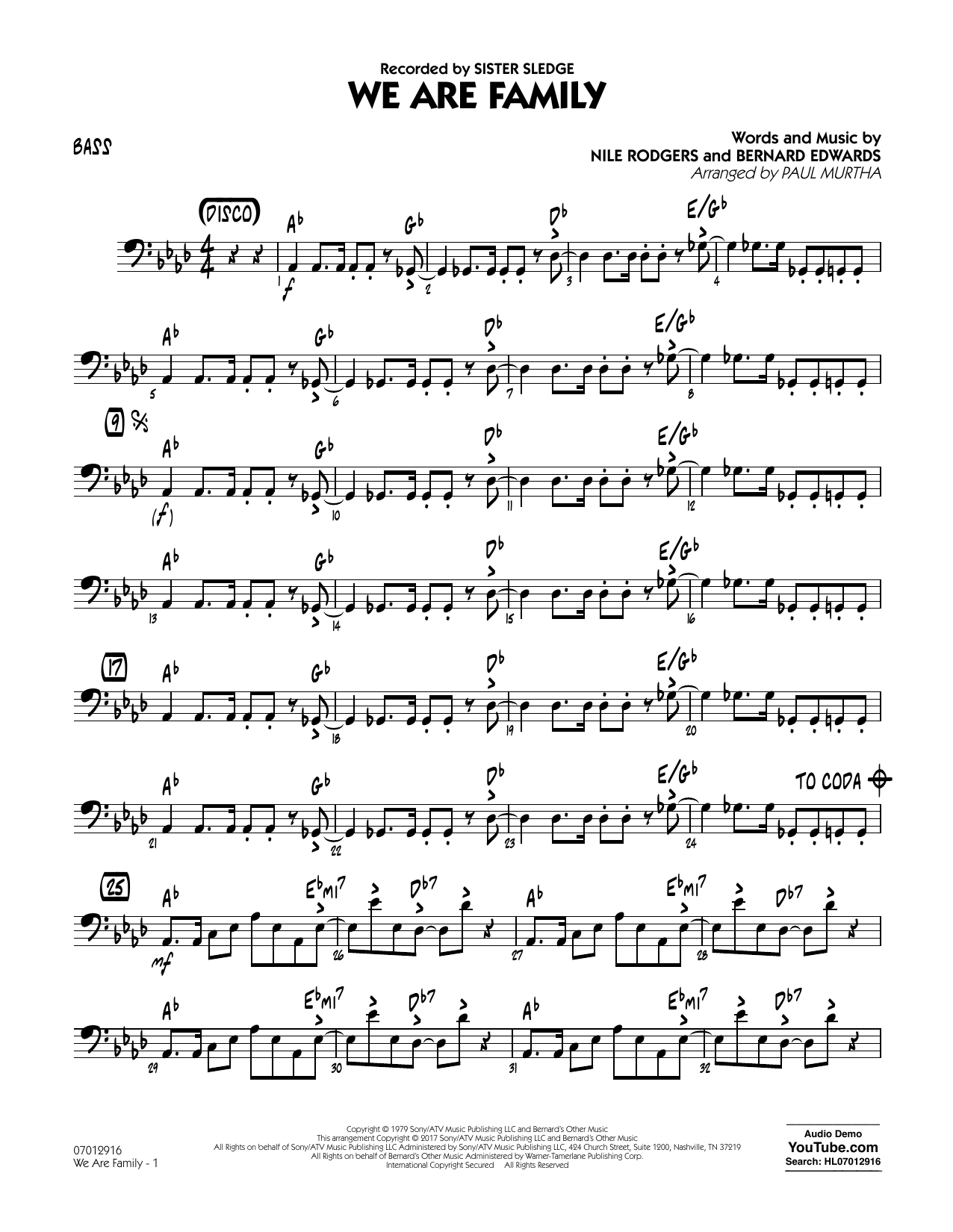 We Are Family - Bass Sheet Music