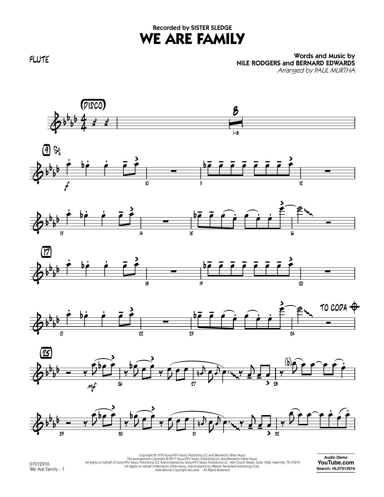 We Are Family - Flute Sheet Music