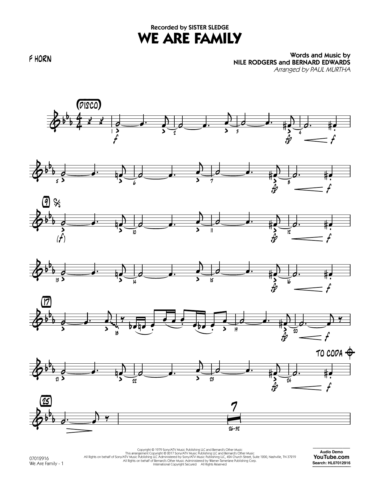 We Are Family - F Horn Sheet Music