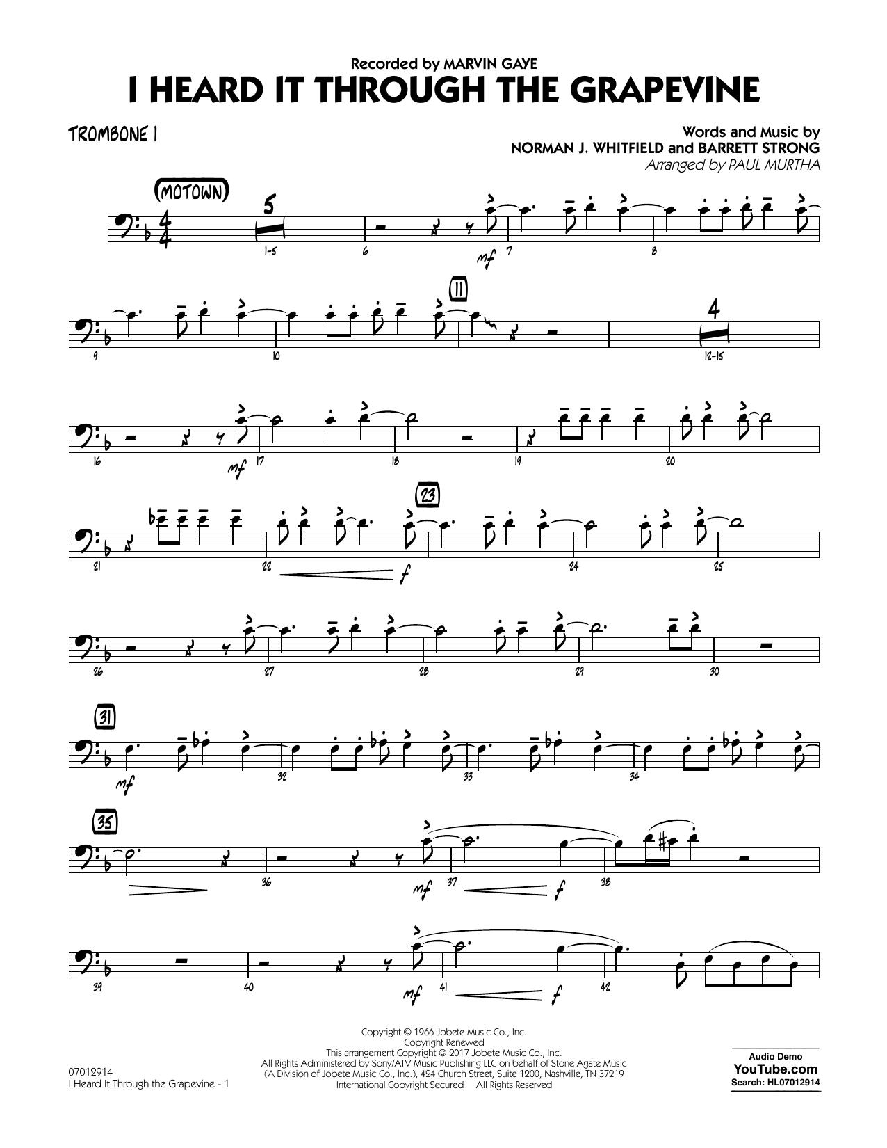 I Heard It Through the Grapevine - Trombone 1 Sheet Music