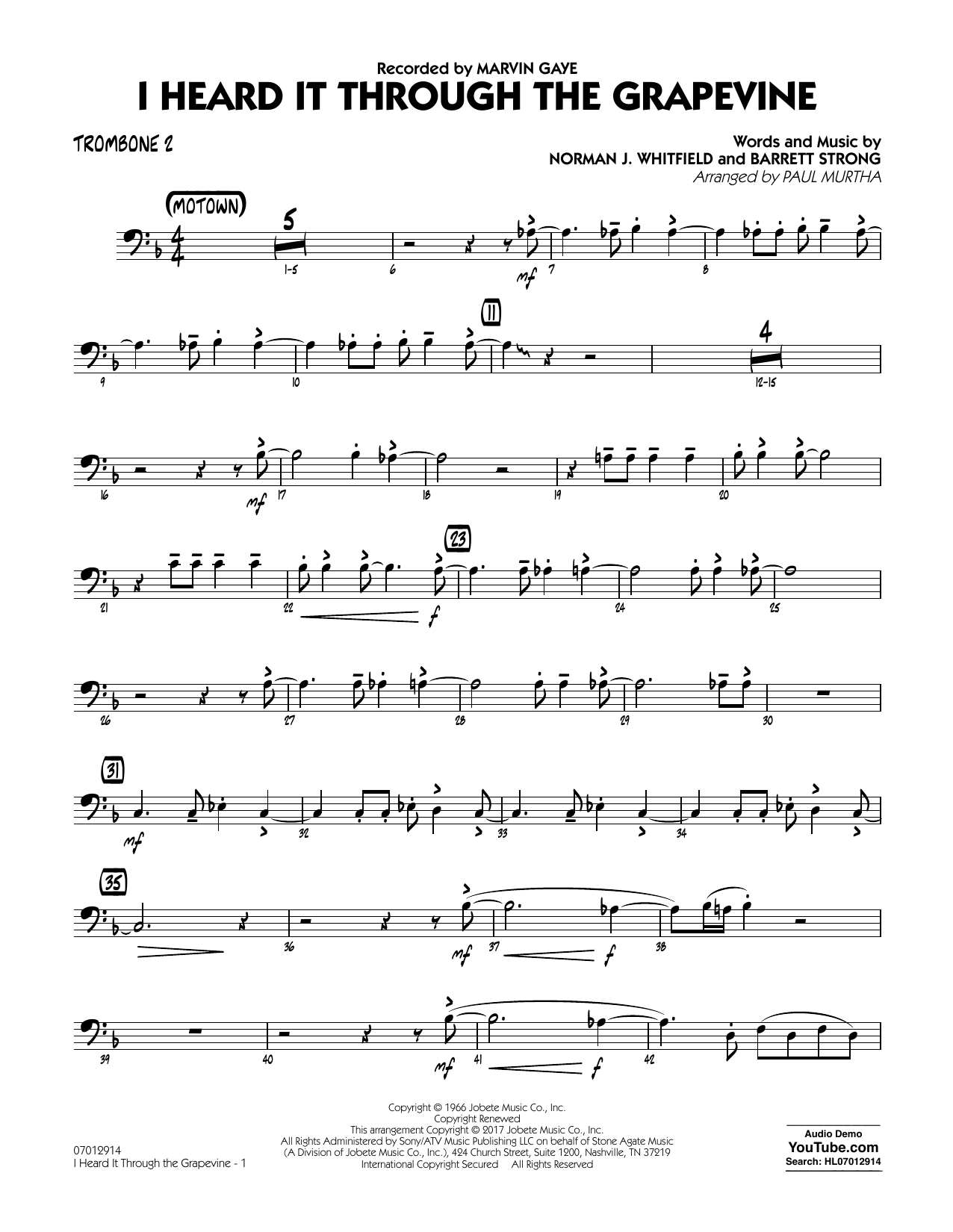I Heard It Through the Grapevine - Trombone 2 Sheet Music