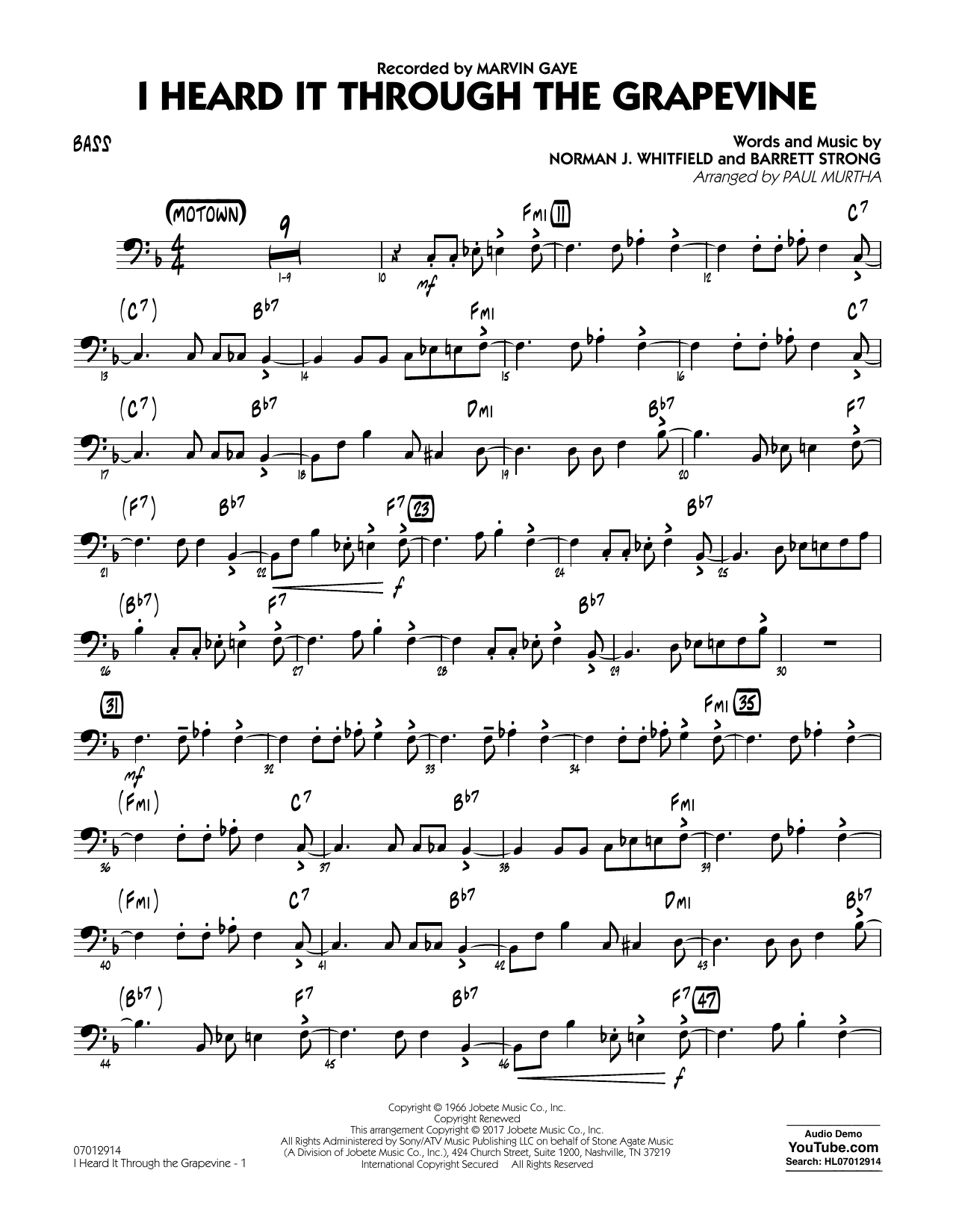 I Heard It Through the Grapevine - Bass Sheet Music