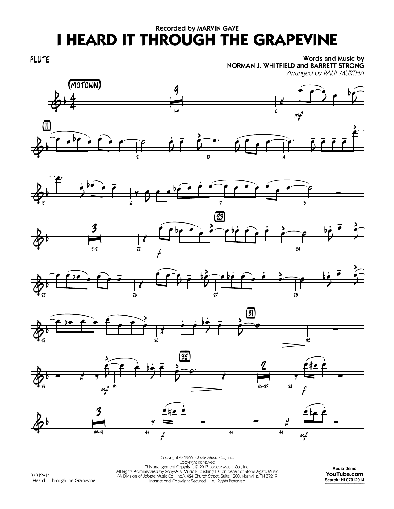 I Heard It Through the Grapevine - Flute Sheet Music