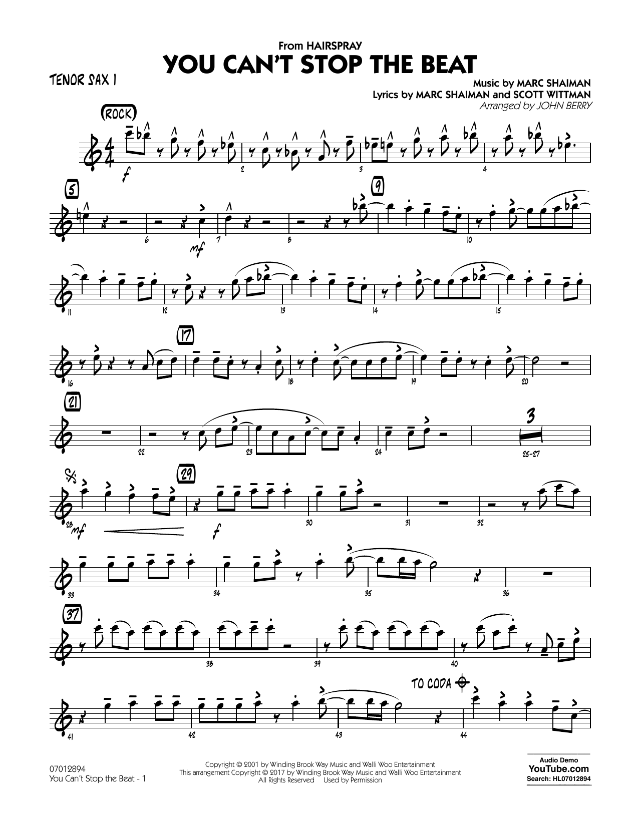 You Can't Stop the Beat (from Hairspray) - Tenor Sax 1 Sheet Music