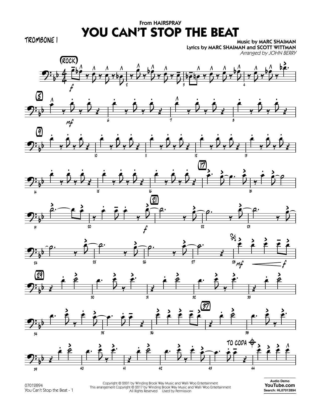 You Can't Stop the Beat (from Hairspray) - Trombone 1 Sheet Music