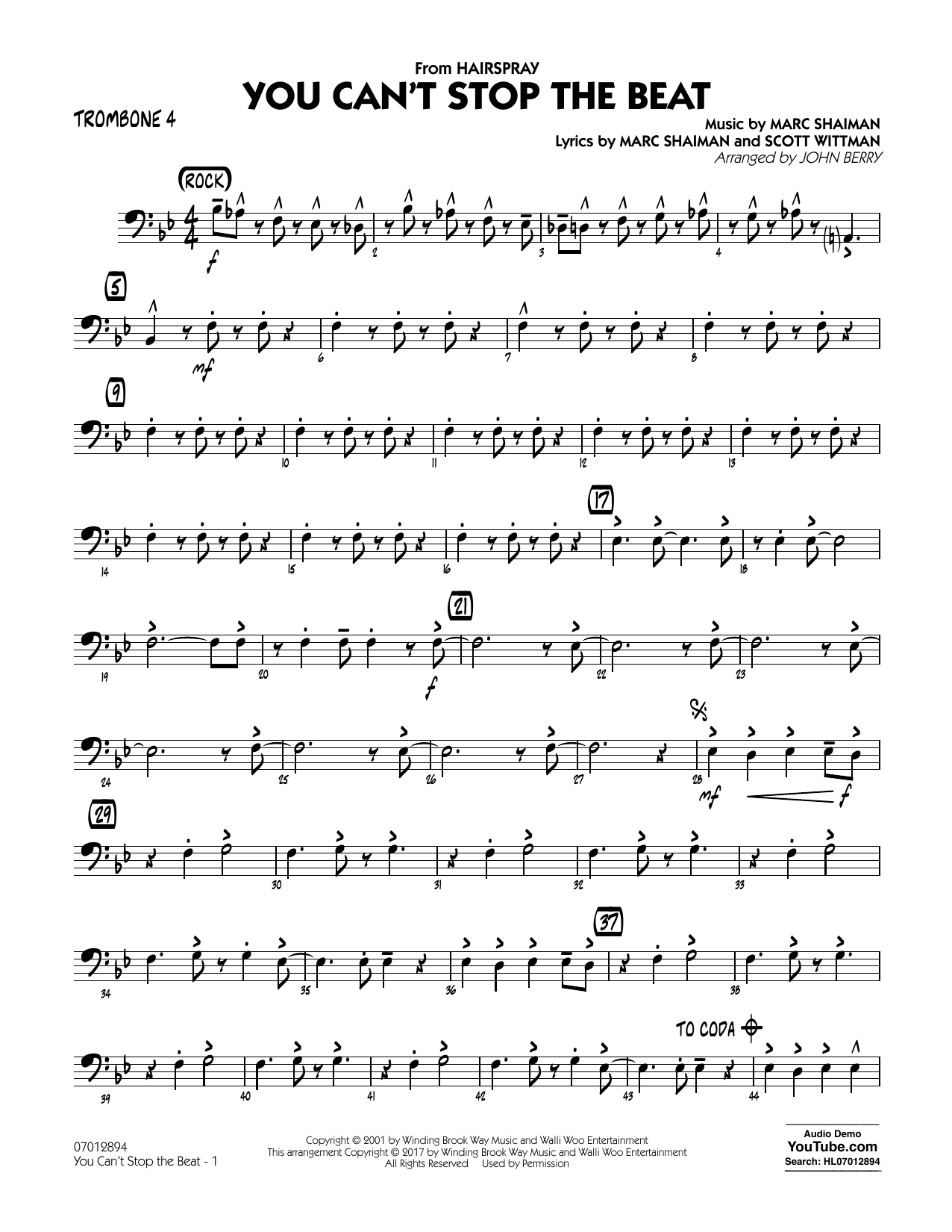 You Can't Stop the Beat (from Hairspray) - Trombone 4 Sheet Music