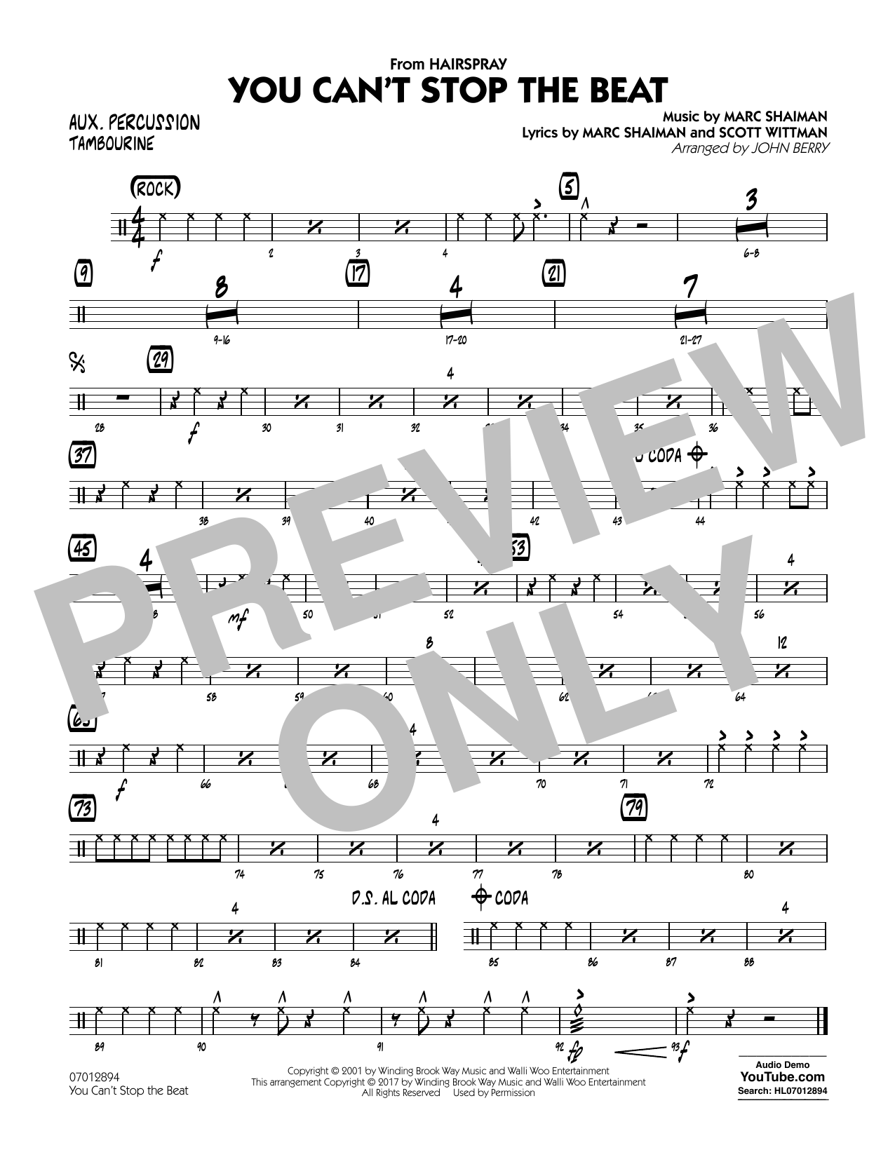 You Can't Stop the Beat (from Hairspray) - Aux Percussion Sheet Music
