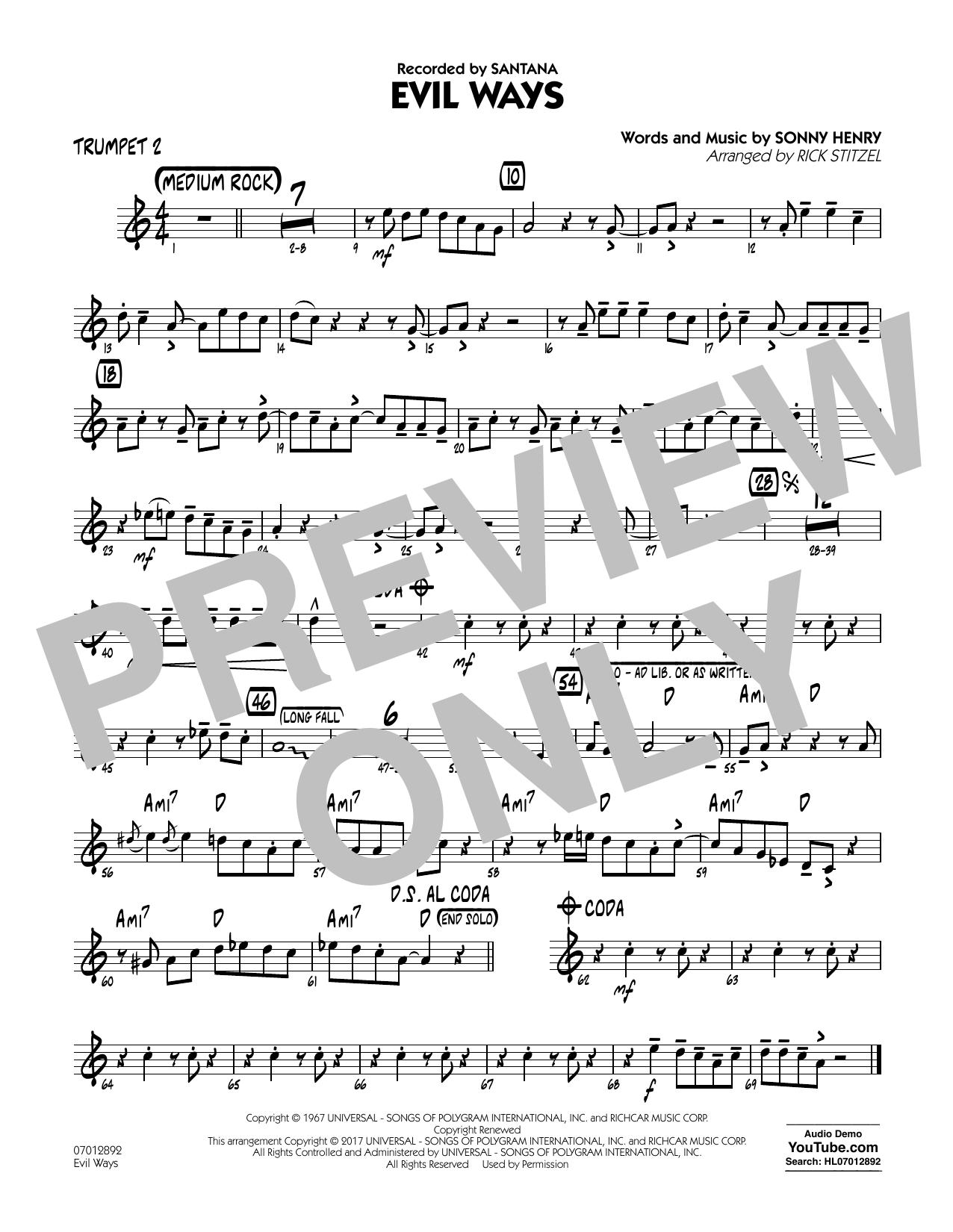 Evil Ways - Trumpet 2 Sheet Music