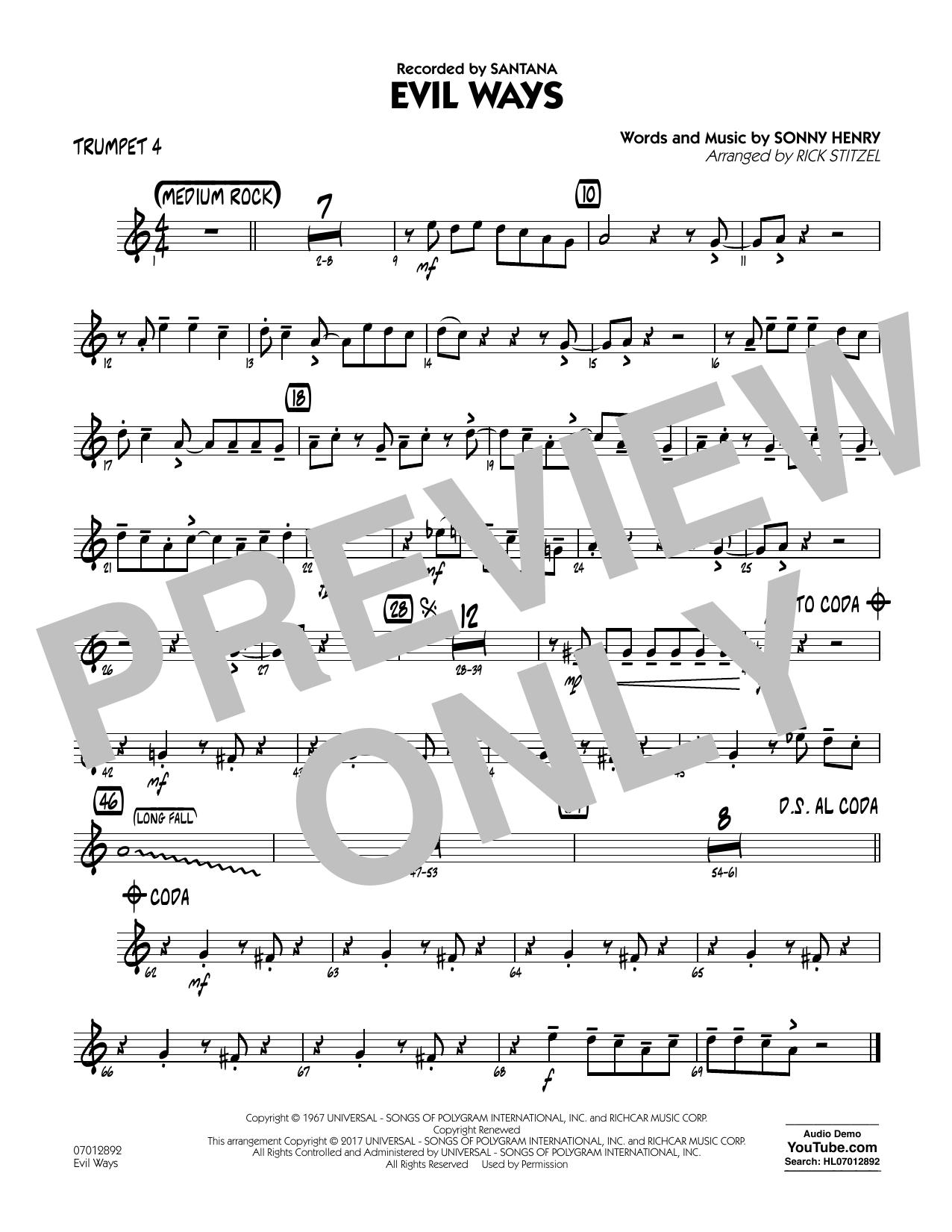 Evil Ways - Trumpet 4 Sheet Music