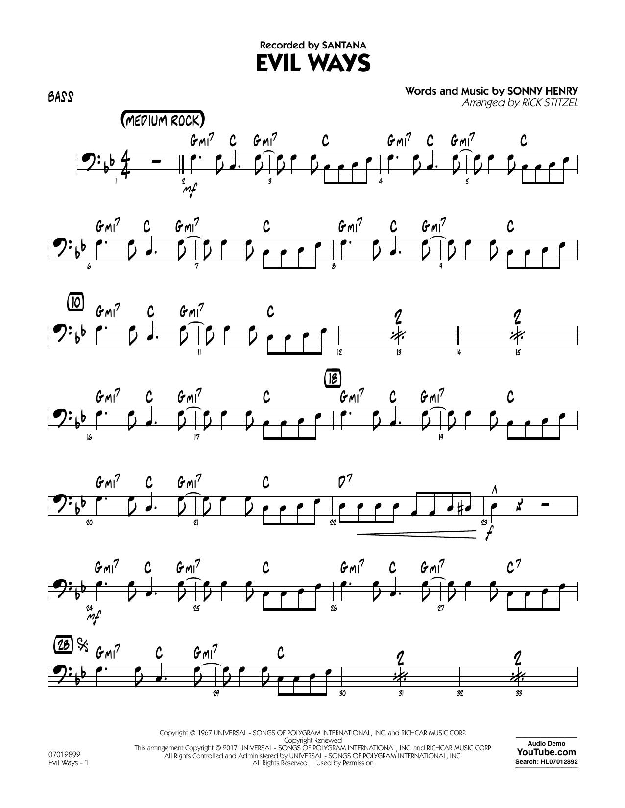 Evil Ways - Bass Sheet Music