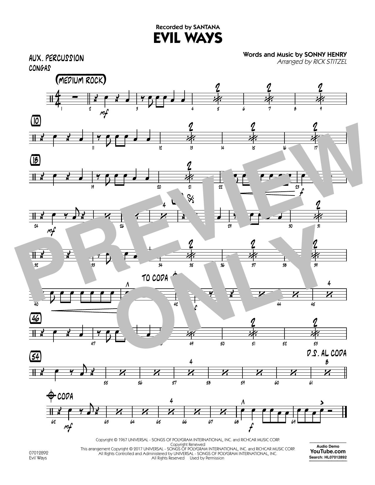 Evil Ways - Aux Percussion (Jazz Ensemble)