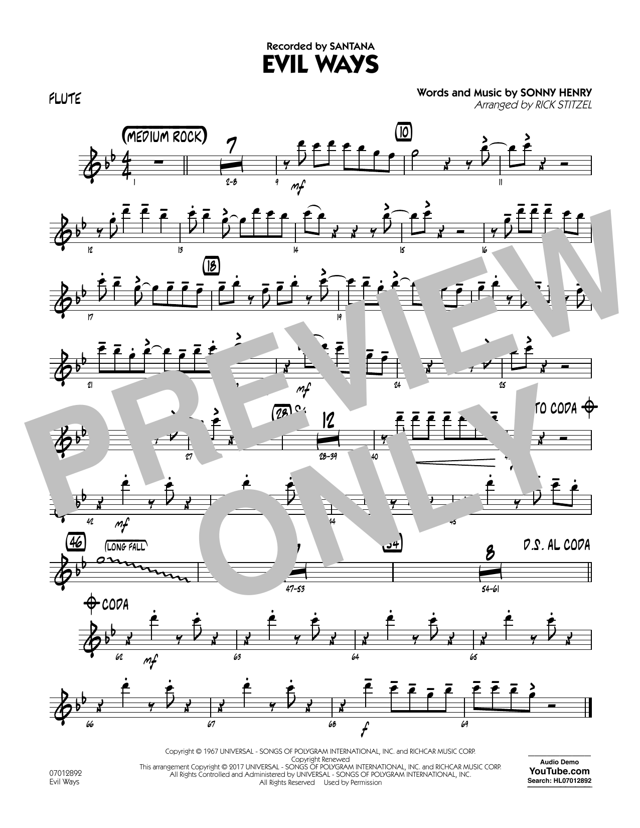 Evil Ways - Flute Sheet Music