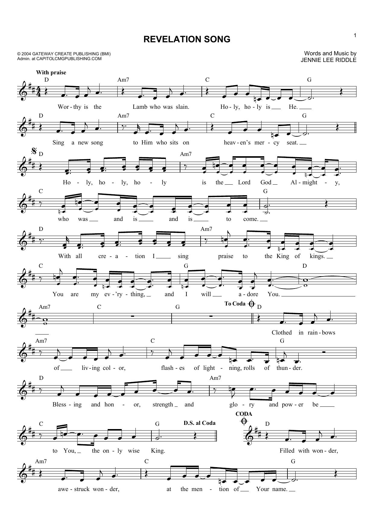 Revelation Song (Lead Sheet / Fake Book)