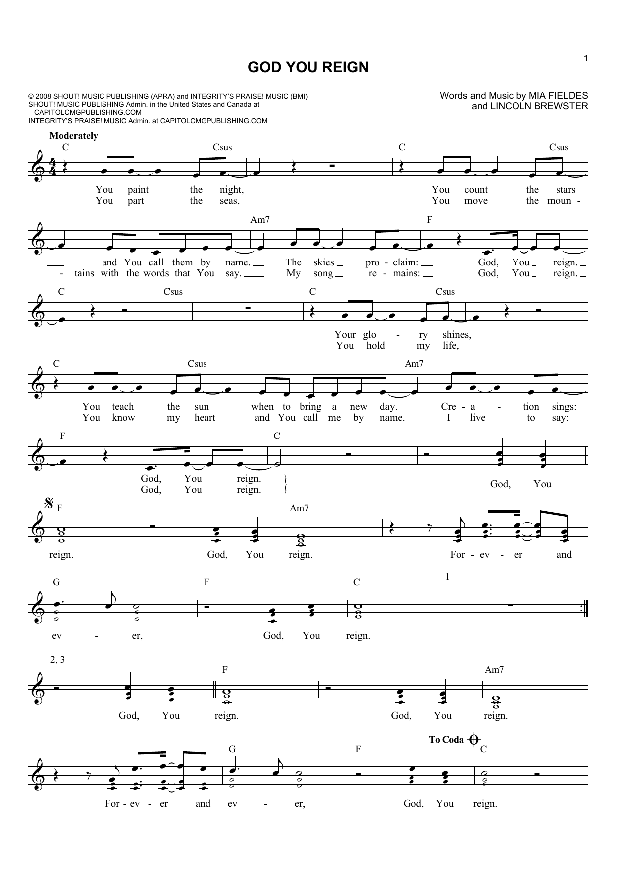Lincoln Brewster God You Reign Sheet Music