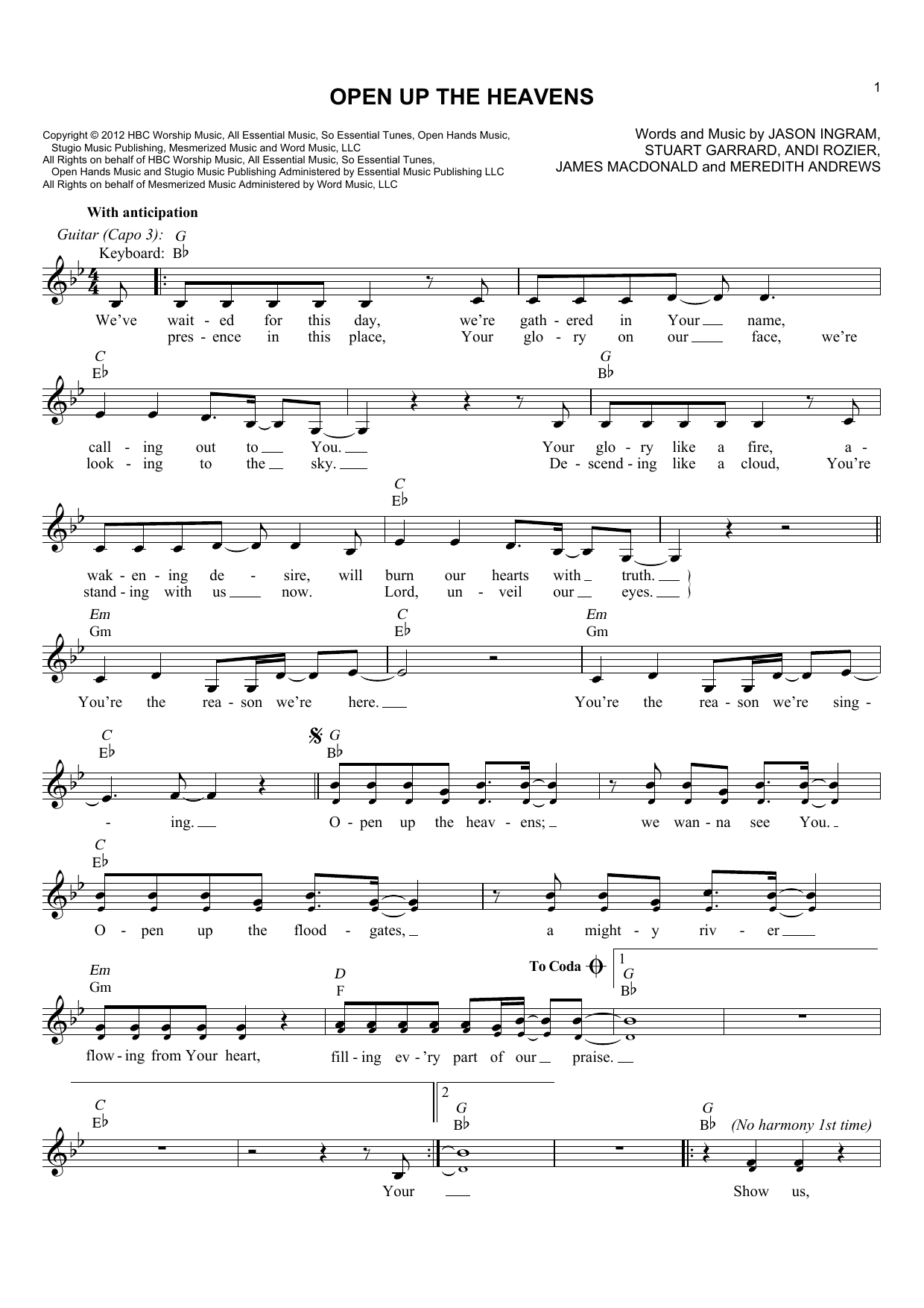 Open Up The Heavens (Lead Sheet / Fake Book)