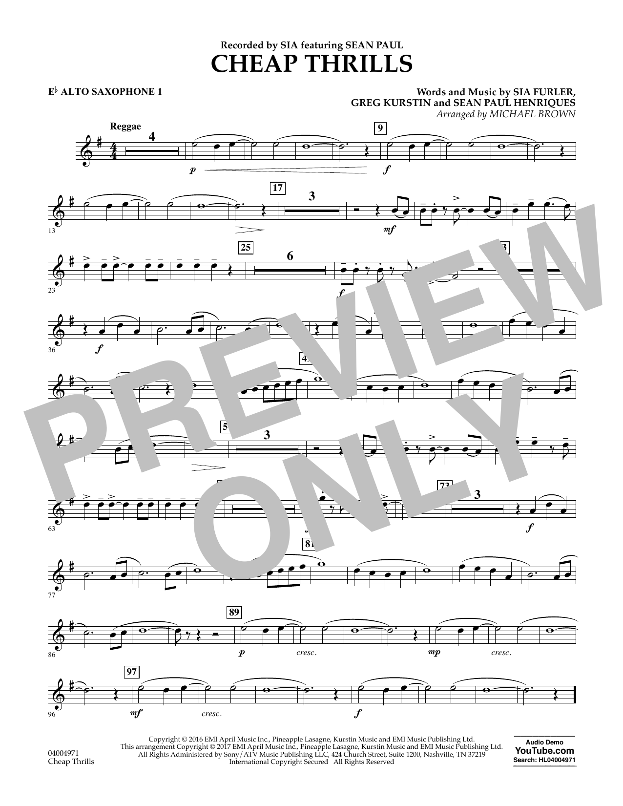 Cheap Thrills - Eb Alto Saxophone 1 Sheet Music