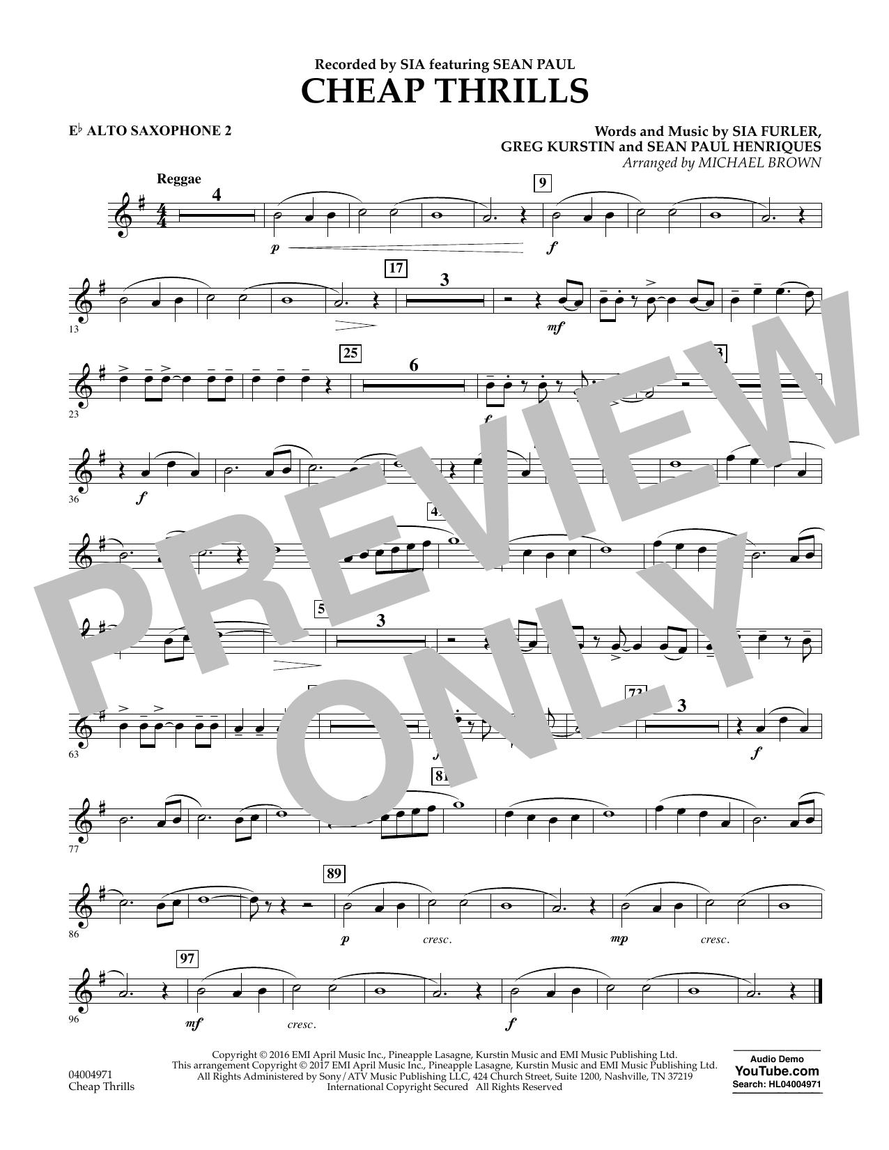 Cheap Thrills - Eb Alto Saxophone 2 Sheet Music